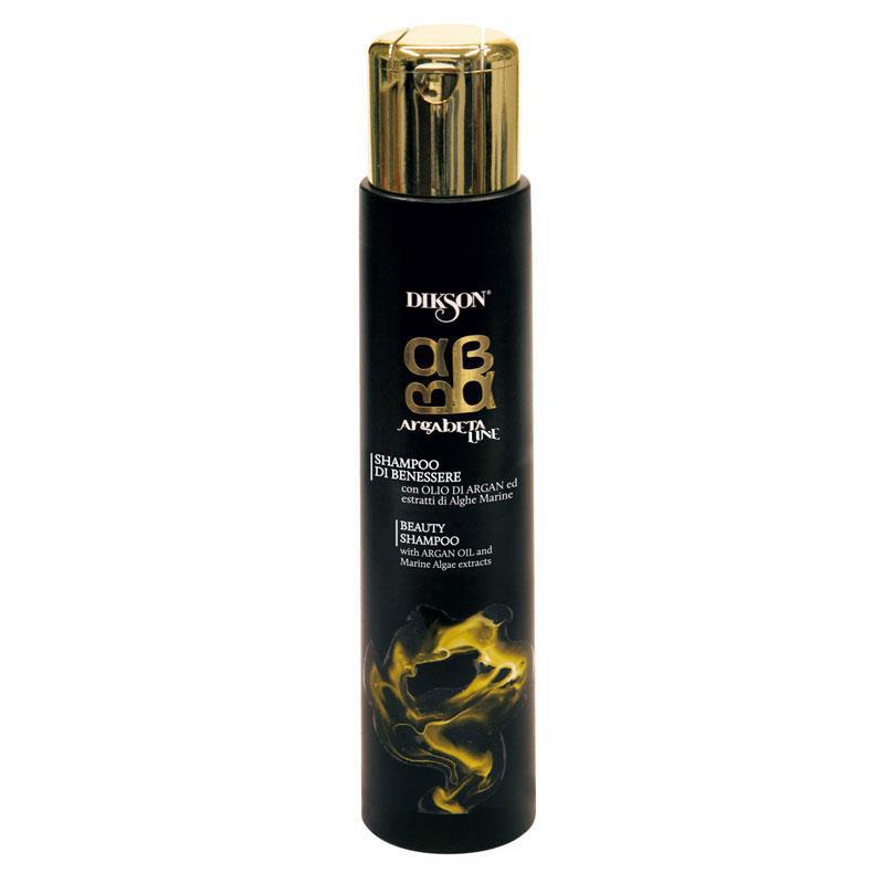 Dikson ArgaBeta Питательный шампунь для волос на основе масла Арганы с экстрактом морских водорослей Beauty Shampoo 250 мл2405Питательный шампунь ArgaBeta Beauty Shampoo от Dikson обладает мягким очищающим и восстанавливающим действием. Устраняет структурные деформации волос, оживляет кожу головы. Уникальный состав масла Арганы и микронизированных водорослей обладает мощным укрепляющим и регенеративным эффектом. Морские водоросли содержат аминокислоты и жирные кислоты, минеральные вещества и витамины. Рекомендован в качестве ухода для любого типа волос, особенно для поврежденных и окрашенных.