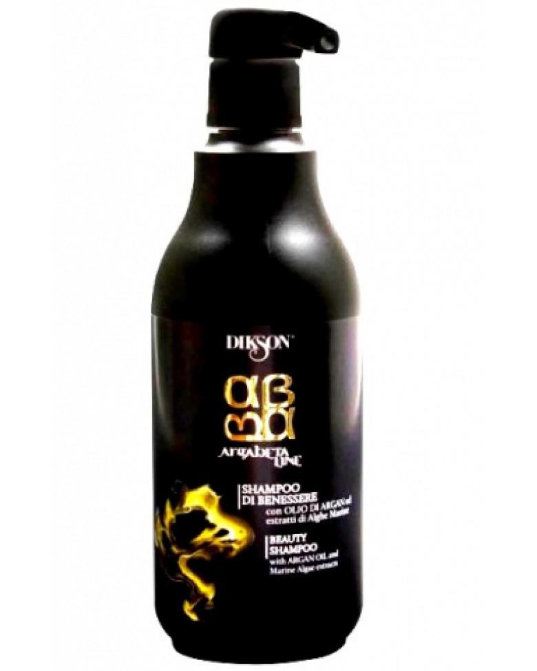 Dikson ArgaBeta Питательный шампунь для волос на основе масла Арганы с экстрактом морских водорослей Beauty Shampoo 500 мл2407Питательный шампунь ArgaBeta Beauty Shampoo от Dikson обладает мягким очищающим и восстанавливающим действием. Устраняет структурные деформации волос, оживляет кожу головы. Уникальный состав масла Арганы и микронизированных водорослей обладает мощным укрепляющим и регенеративным эффектом. Морские водоросли содержат аминокислоты и жирные кислоты, минеральные вещества и витамины. Рекомендован в качестве ухода для любого типа волос, особенно для поврежденных и окрашенных.