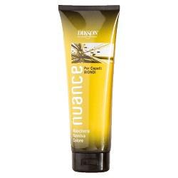 Dikson Nuance Оттеночная маска для светлых окрашенных и натуральных волос Maschera Raviva Color for Blond Hair 250 млdiks870Поддерживает стойкость цвета и усиливает блеск окрашенных и натуральных волос, а также волос после мелирования. Без оксида, аммиака и п- фенилендиамина. Маска быстро и эффективно улучшает структуру, придает глянцевый блеск и делает волосы более послушными в укладке. Одновременно она тонирует волосы, делая цвет более ровным и красивым. Рекомендована для окрашенных волос и волос после мелирования. Активные компоненты: цетеариловый спирт, пропилен гликоль, кондиционер, отдушка, смягчающее средство, консервант. Результат: волосы приобретают приятные теплые оттенки.