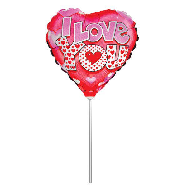 Action! Шар фольгированный на палочке I Love You Сердце 24 см х 26 см