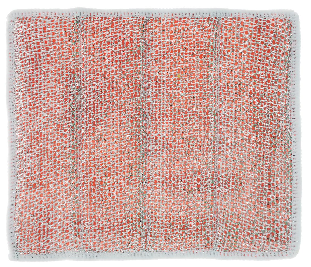 Салфетка для стеклокерамических плит Хозяюшка Мила, цвет: серебристый, красный, белый, 21 х 17 см04024-150Салфетка для стеклокерамических плит Хозяюшка Мила станет незаменимым помощником на кухне. Жесткая сторона из фольгированного материала предназначена для очистки сильно загрязненных поверхностей. Мягкая сторона из микрофибры прекрасно впитывает влагу, удаляет грязь и пыль с деликатных поверхностей. Размер салфетки: 21 см х 17 см.