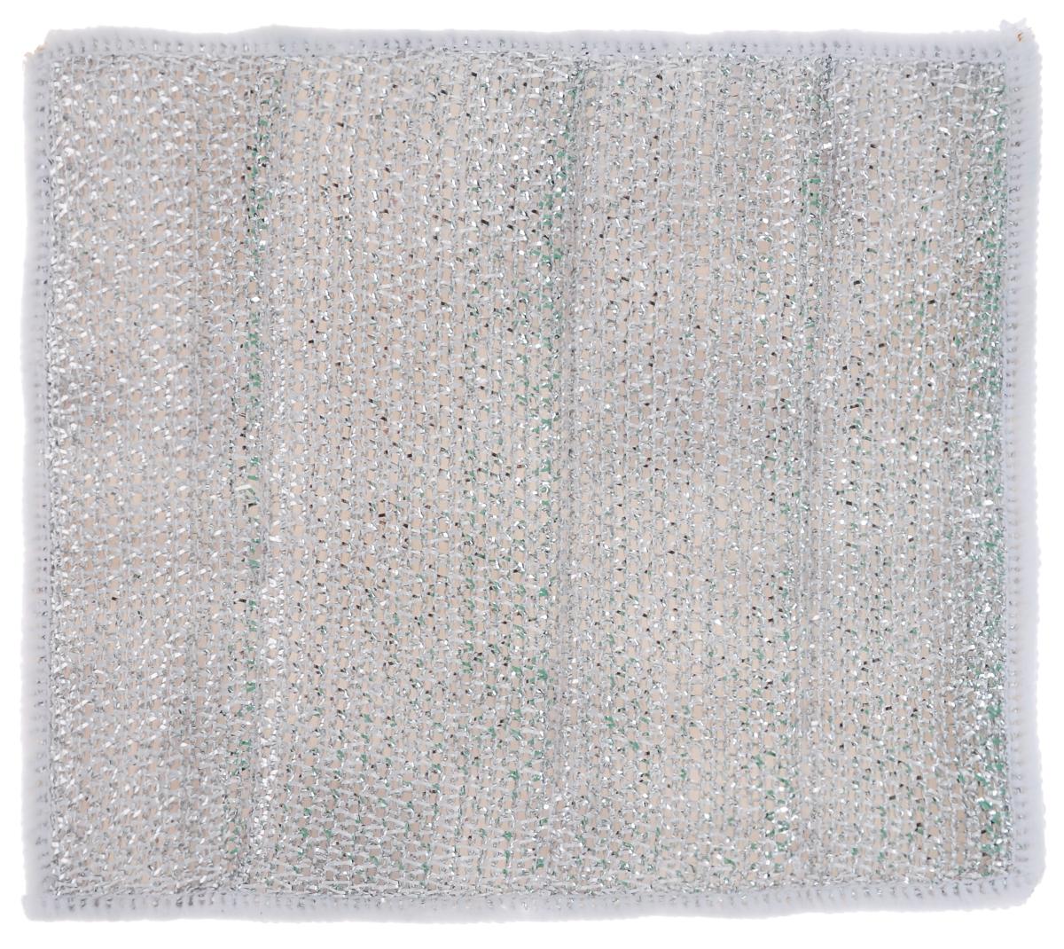 Салфетка для стеклокерамических плит Хозяюшка Мила, цвет: серебристый, белый, 21 х 17 см04024-150Салфетка для стеклокерамических плит Хозяюшка Мила станет незаменимым помощником на кухне. Жесткая сторона из фольгированного материала предназначена для очистки сильно загрязненных поверхностей. Мягкая сторона из микрофибры прекрасно впитывает влагу, удаляет грязь и пыль с деликатных поверхностей. Размер салфетки: 21 см х 17 см.