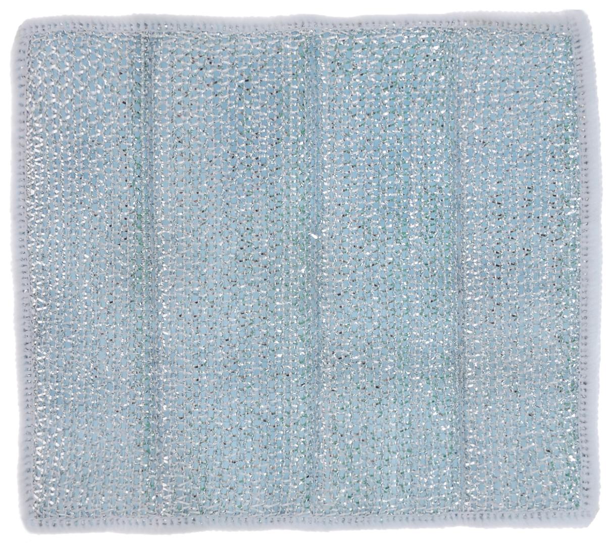 Салфетка для стеклокерамических плит Хозяюшка Мила, цвет: серебристый, голубой, белый, 21 х 17 см04024-150Салфетка для стеклокерамических плит Хозяюшка Мила станет незаменимым помощником на кухне. Жесткая сторона из фольгированного материала предназначена для очистки сильно загрязненных поверхностей. Мягкая сторона из микрофибры прекрасно впитывает влагу, удаляет грязь и пыль с деликатных поверхностей. Размер салфетки: 21 см х 17 см.
