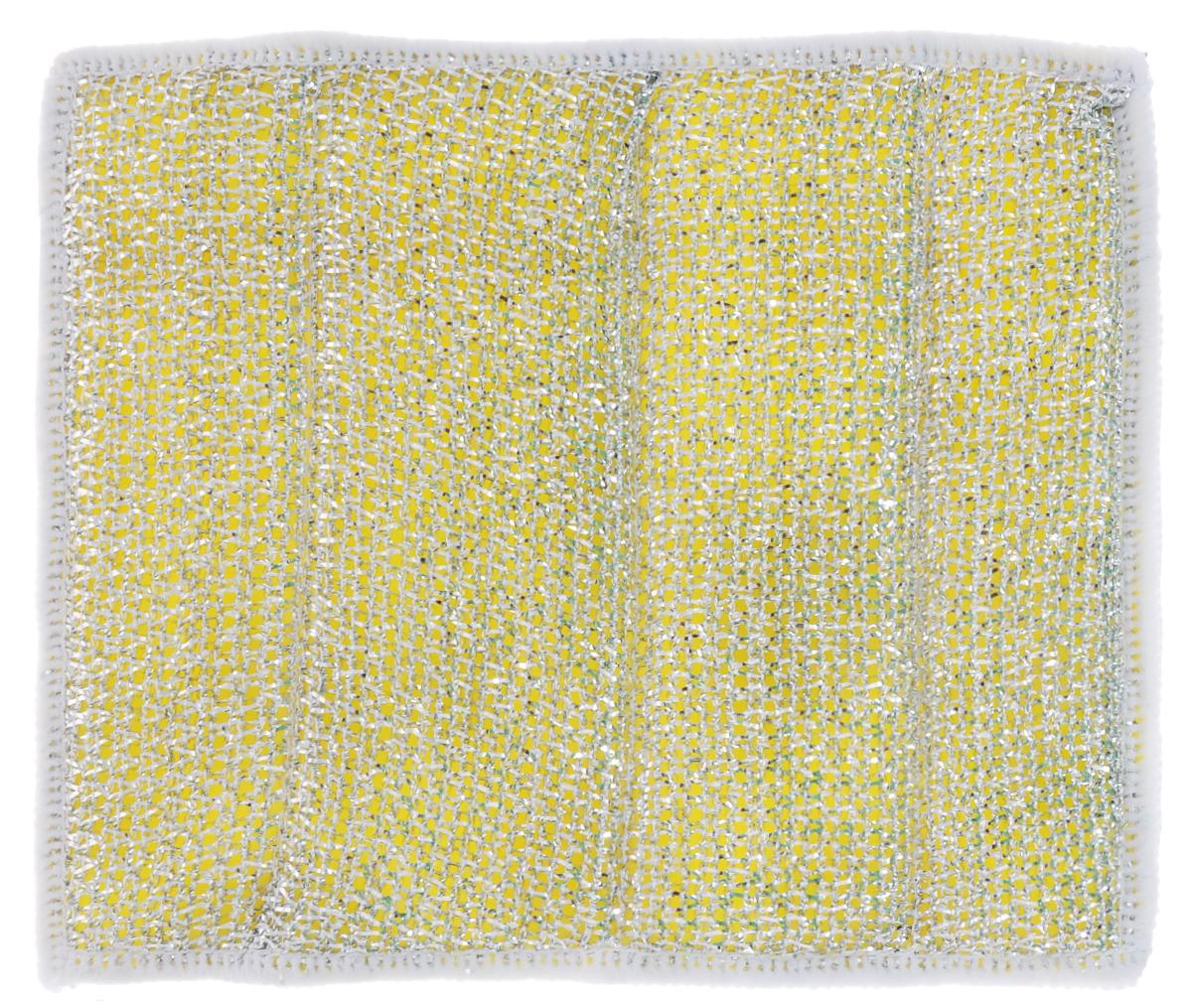 Салфетка для стеклокерамических плит Хозяюшка Мила, цвет: серебристый, желтый, белый, 21 х 17 см04024-150Салфетка для стеклокерамических плит Хозяюшка Мила станет незаменимым помощником на кухне. Жесткая сторона из фольгированного материала предназначена для очистки сильно загрязненных поверхностей. Мягкая сторона из микрофибры прекрасно впитывает влагу, удаляет грязь и пыль с деликатных поверхностей. Размер салфетки: 21 см х 17 см.
