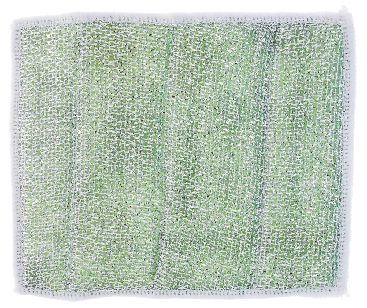 Салфетка для стеклокерамических плит Хозяюшка Мила, цвет: серебристый, зеленый, белый, 21 х 17 см04024-150Салфетка для стеклокерамических плит Хозяюшка Мила станет незаменимым помощником на кухне. Жесткая сторона из фольгированного материала предназначена для очистки сильно загрязненных поверхностей. Мягкая сторона из микрофибры прекрасно впитывает влагу, удаляет грязь и пыль с деликатных поверхностей. Размер салфетки: 21 см х 17 см.