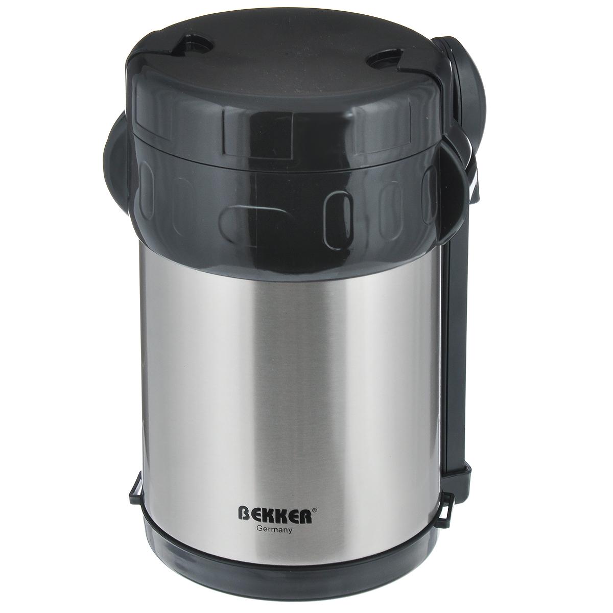 Термос пищевой Bekker, с контейнерами, цвет: черный, стальной, 2 л. BK-42BK-42_ черный, стальнойПищевой термос с широким горлом Bekker, изготовленный из высококачественной нержавеющей стали 18/8, прост в использовании и многофункционален. Изделие имеет двойные стенки, что позволяет пище долго оставаться горячей. Термос снабжен 3 пластиковыми контейнерами разного объема, а также металлической ложкой и вилкой в оригинальном чехле, который вставляется в специальную выемку сбоку термоса. Для удобной переноски предусмотрен специальный ремешок. Термос предназначен для хранения горячей и холодной пищи, замороженных продуктов, мороженного, фруктов и льда. Крышка плотно закрывается на две защелки. Высота (с учетом крышки): 22 см. Диаметр горлышка: 13 см. Диаметр контейнеров: 11,5 см. Высота контейнеров: 9 см; 5 см; 3,5 см. Объем контейнеров: 700 мл; 400 мл; 250 мл. Длина вилки/ложки: 15 см.