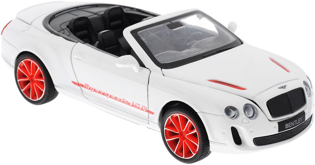 Maxi Toys Машинка инерционная Бентли Континенталь КабриолетCP-68345-WИнерционная модель автомобиля Bentley Continental Supersports ISR, выполненная из высококачественного металла и пластика, непременно понравится и ребенку, и взрослому. Это точная копия оригинала в масштабе 1:32. Модель является точной уменьшенной копией известного автомобиля марки Bentley. Игрушечная модель оснащена литым металлическим корпусом и вращающимися колесами из резины. Передние двери машинки, капот и багажник открываются, салон детализирован. Модель дополнена световыми и звуковыми эффектами. Игрушка оснащена инерционным ходом. Для того, чтобы автомобиль поехал вперед, необходимо его отвести назад, а затем резко отпустить. Прорезиненные колеса обеспечивают надежное сцепление с любой поверхностью пола. Машинка является отличным подарком для юного гонщика. Во время игры с такой машинкой, у ребенка развивается мелкая моторика рук, фантазия и воображение. Рекомендуется докупить 3 батарейки типа LR44 (товар комплектуется демонстрационными).