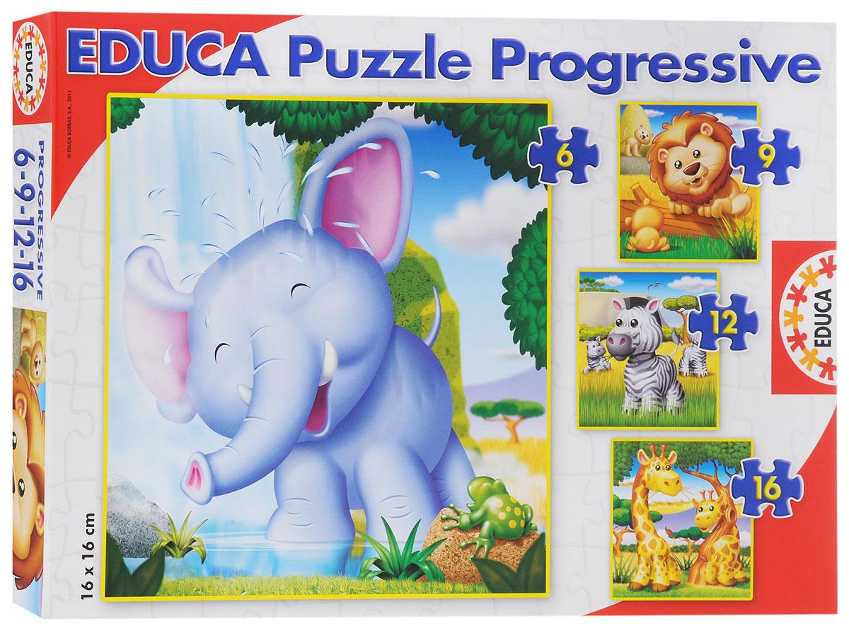 Educa Пазл Животные Африки 4 в 115619Пазл Educa Животные Африки привлечет внимание вашего ребенка и поднимет настроение жизнерадостными образами. Комплект включает в себя 43 элемента, с помощью которых ребенок сможет собрать четыре картинки с изображениями различных веселых животных - слоненка, львенка, зебра и жирафов. Один из пазлов собирается из 16 элементов, второй - из 12, третий - из 9, четвертый - из 6. Благодаря прочному материалу детали пазлов легко крепятся между собой, а крупный размер деталей будет удобен для маленьких ручек малыша. Игра с таким пазлом поможет ребенку в развитии логического мышления, воображения, памяти и мелкой моторики рук.