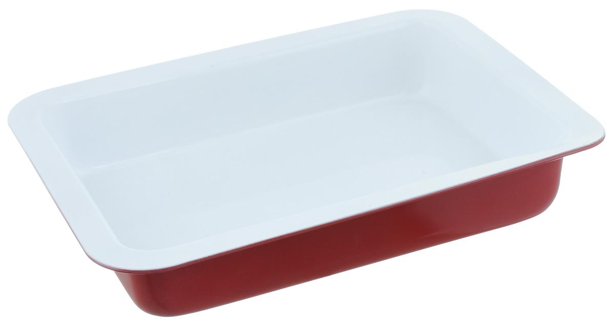 Форма для запекания Premier Housewares Eco Cook, прямоугольная, цвет: красный, 31 х 23,7 х 5,5 см0104313Прямоугольная форма для выпечки Premier Housewares Eco Cook выполнена из алюминия и снабжена керамическим покрытием, что обеспечивает прочность и долговечность. Керамическое покрытие абсолютно безвредно, не выделяет СО2, PFOA, PTFE. Форма равномерно и быстро прогревается, что способствует лучшему пропеканию пищи. Данную форму легко чистить. Готовая выпечка без труда извлекается из формы. Форма подходит для использования в духовке с максимальной температурой 280°С. Перед каждым использованием форму необходимо смазать небольшим количеством масла. Чтобы избежать повреждений антипригарного покрытия, не используйте металлические или острые кухонные принадлежности. Можно мыть в посудомоечной машине. Размер формы: 31 х 23,7 х 5,5 см.