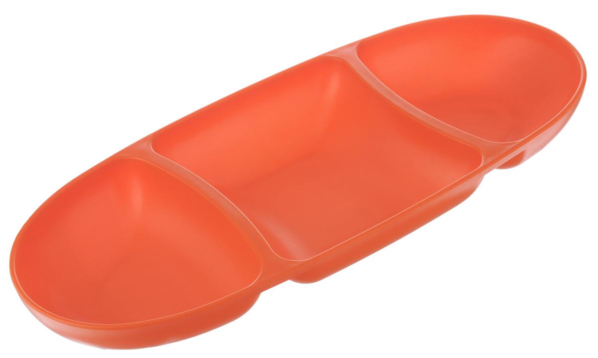 Салатник Ucsan, с 3 отделениями, цвет: оранжевый, 33,5 х 14,5 х 3,5 смM-279_оранжевыйСалатник Ucsan изготовлен из высококачественного полипропилена. Салатник имеет 3 отделения для красивой сервировки различных салатов, соусов или закусок. Например, посередине можно разложить чипсы, а по бокам два вида соусов. Такой салатник - незаменимый аксессуар для красивой сервировки стола. Можно мыть в посудомоечной машине. Размер отделений: 14 х 12 х 3,5 см; 13 х 10 х 3,5 см.