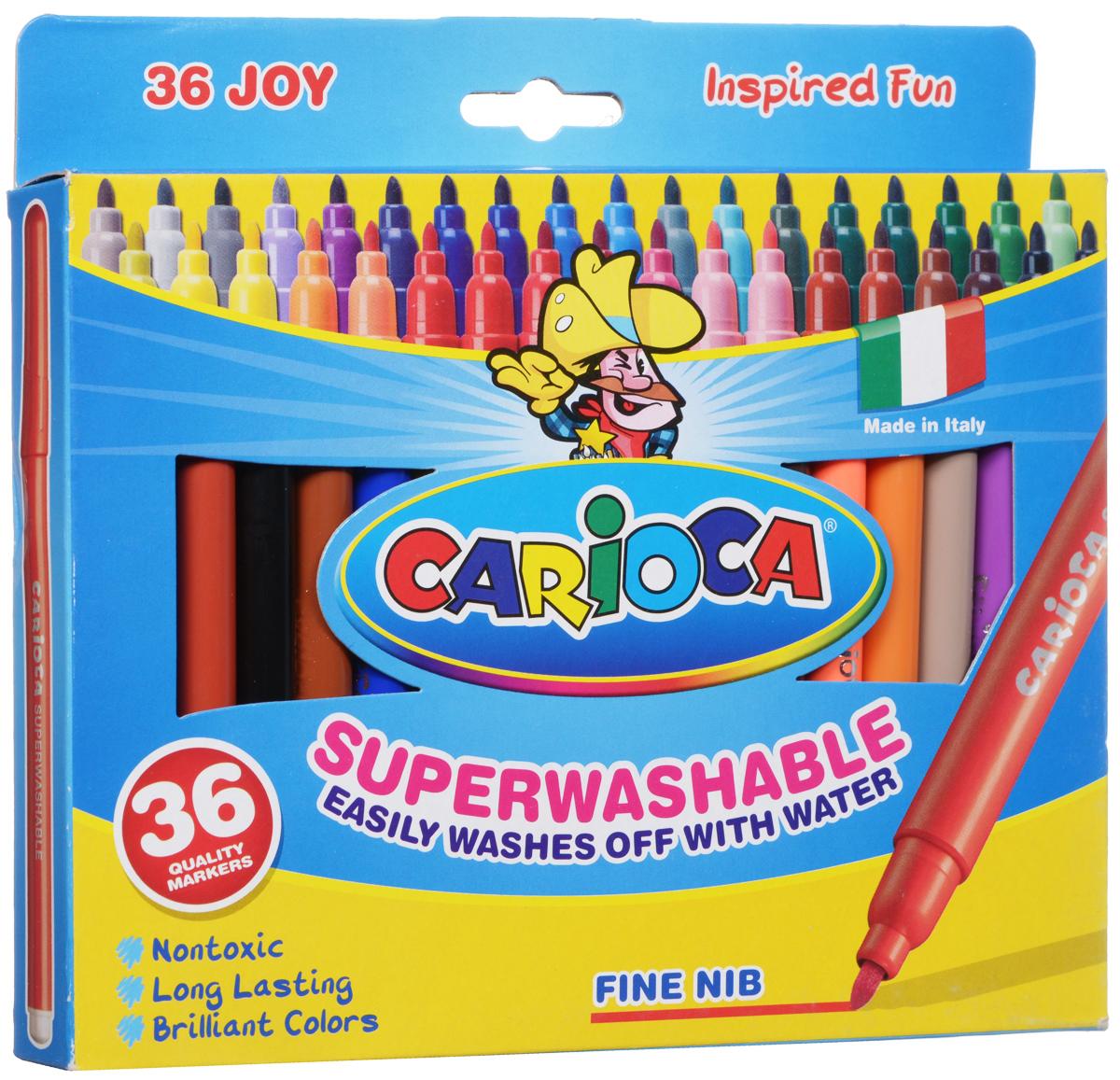 Набор фломастеров Carioca Joy, 36 цветов40616/36Набор Carioca Joy состоит из 36 разноцветных фломастеров, которые отлично подойдут и для школьных занятий, и просто для рисования. Фломастеры рисуют яркими насыщенными цветами. Чернила на водной основе легко смываются с кожи и отстирываются с большинства тканей. Корпус фломастеров изготовлен из полипропилена, а колпачок имеет специальные прорези, что обеспечивает вентилирование и еще больше увеличивает срок службы чернил и предотвращает их преждевременное высыхание.