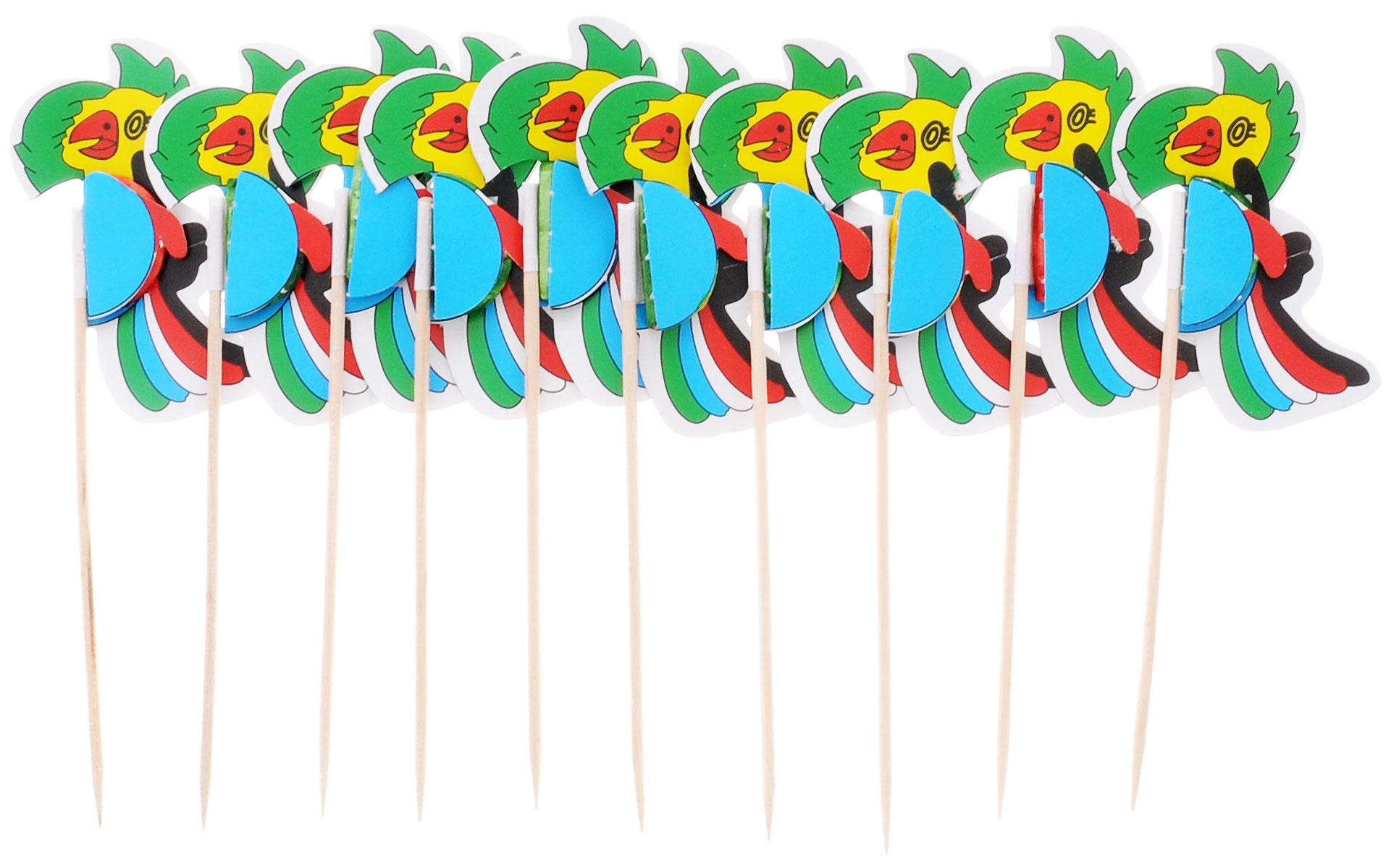 Action! Шпажки Птицы для праздничной сервировки 10 штAPI0115Канапе созданы для утоления легкого голода на фуршетах. А еще эти крохотные бутерброды могут стать украшением всего торжества. Конечно, если и сами они оформлены должным образом. Например, украшены этими замечательными шпажками! Данный набор состоит из десяти деревянных шпажек с декором в виде ярких попугаев. Такой набор идеально подойдет для оформления детского канапе, или для тарелки с фруктами!