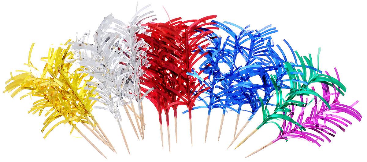 Action! Шпажки с фольгой для праздничной сервировки 20 штAPI0116Канапе созданы для утоления легкого голода на фуршетах. А еще эти крохотные бутерброды могут стать украшением всего торжества. Конечно, если и сами они оформлены должным образом. Например, украшены этими замечательными шпажками! Данный набор состоит из двадцати деревянных шпажек с декором из цветного дождика из фольги. Такой набор идеально подойдет для оформления детского канапе, новогоднего стола, или для тарелки с фруктами!