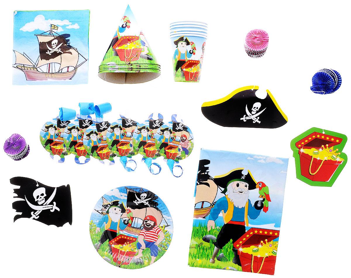 Action! Набор для праздника Пираты 34 предметаAPI0091Набор для праздника Action! Пираты состоит из 34 предметов и рассчитан на 6 персон. Набор включает в себя все необходимое для сервировки стола и веселого праздника. Предметы набора выполнены из экологичных безопасных материалов и оформлены изображениями пиратов. Данный набор поможет вам сделать праздник оригинальным и незабываемым. Размер скатерти: 180 см х 130 см. Диаметр тарелки: 17,5 см. Диаметр стакана (по верхнему краю): 7,5 см. Высота стакана: 9 см.