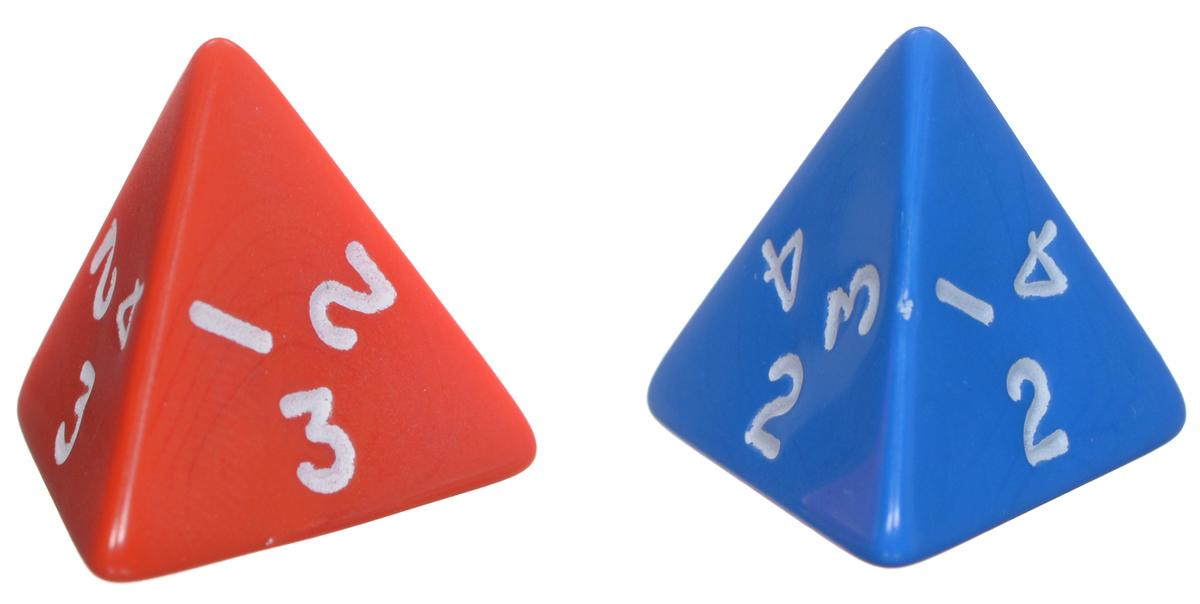 Koplow Games Набор игральных костей Простые D4 цвет синий красный 2 шт - Koplow Games2380_синий, красныйНабор игральных костей Простые предназначен для настольных игр. Набор состоит из двух четырехгранных костей. На каждую из четырех треугольных граней игральной кости нанесены числа числа от 1 до 4 в четырех различных комбинациях (грань 1 - 1, 2, 3; грань 2 - 1, 3, 4; грань 3 - 1, 2, 4, грань 4 - 2, 3, 4). Целью игральной кости является демонстрация случайно определенного числа, каждое из которых является равновозможным благодаря правильной геометрической форме. Игральные кости выполнены из прочного пластика. Не рекомендуется детям до 3-х лет.