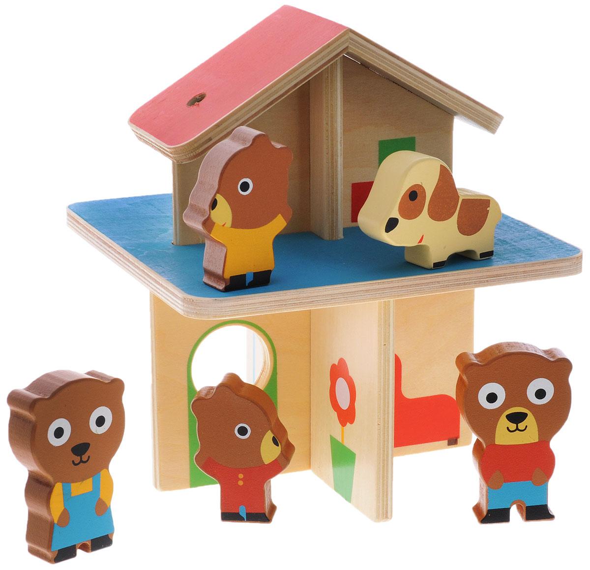 Djeco Развивающая игрушка Мини-дом06386Развивающая игрушка Djeco Мини-дом - увлекательный развивающий набор для самых маленьких. В наборе малыш найдет двухэтажный домик для медвежат, а также 4 фигурки забавных мишек и их любимого питомца - пятнистого щенка. У медвежат в домике есть ванная комната, гостиная, все, что необходимо им для комфортной жизни. Яркий разноцветный домик и милые фигурки животных сразу привлекут малыша и надолго увлекут его в сюжетно-ролевой игре.