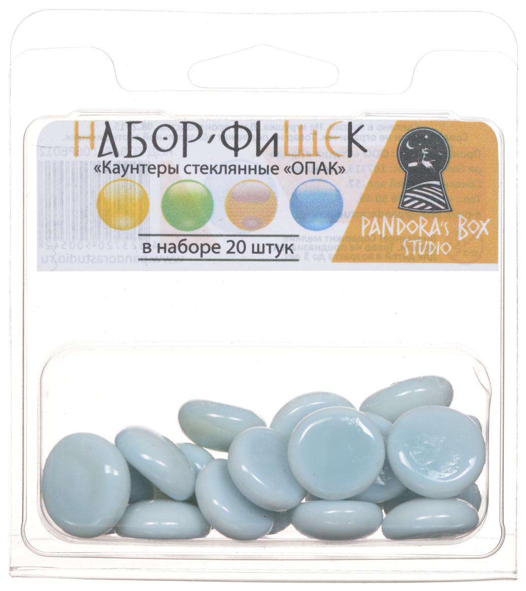 Pandora's Box Набор фишек Каунтеры стеклянные ОПАК цвет бело-голубой 20 шт