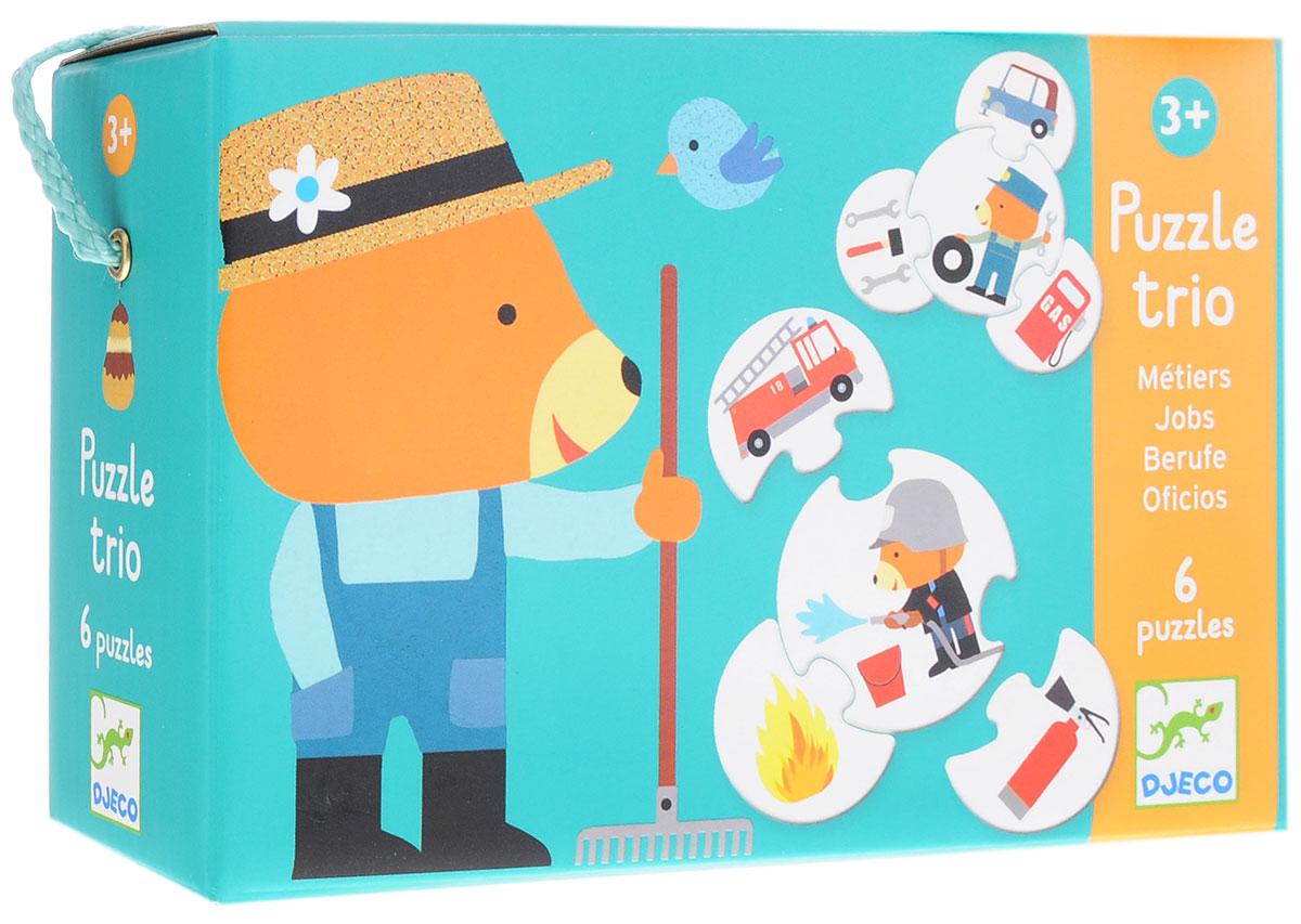 Djeco Обучающая игра Профессии08174Обучающая игра Djeco Профессии - великолепный обучающий набор и отличный подарок для каждого малыша! В наборе ваш ребенок найдет 24 разноцветные детали. С их помощью малыш должен составить 6 картинок, соответствующих друг другу по форме, цветовой гамме и логике. Яркие красочные картинки позволят не просто составлять пазлы, но и обучить ребенка распорядку дня в интересной для него игровой форме. Игра развивает логическое мышление, сообразительность и внимательность ребенка, учит его усидчивости и терпению.