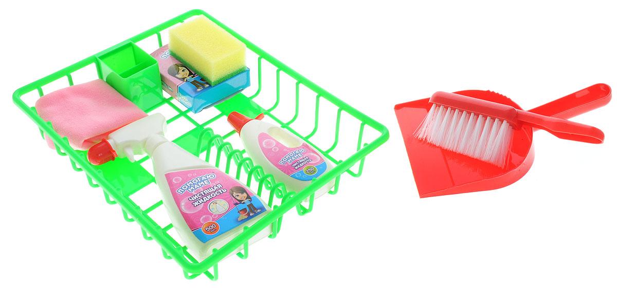 ABtoys Игровой набор Помогаю маме Генеральная уборкаPT-00316Игровой набор ABtoys Помогаю маме. Генеральная уборка входит в большую серию игрушек Помогаю маме, разработанную для приучения девочек и мальчиков к домашним обязанностям в игровой форме. В данный комплект входят восемь предметов. Среди них есть основные средства для обеспечения чистоты: настоящий совок с щеткой, два вида чистящего средства (муляж), пульверизатор и удобная зеленая корзина для хранения всех аксессуаров. Все предметы выполнены из безопасных материалов. С набором для уборки ребенок приучается к чистоте и порядку.