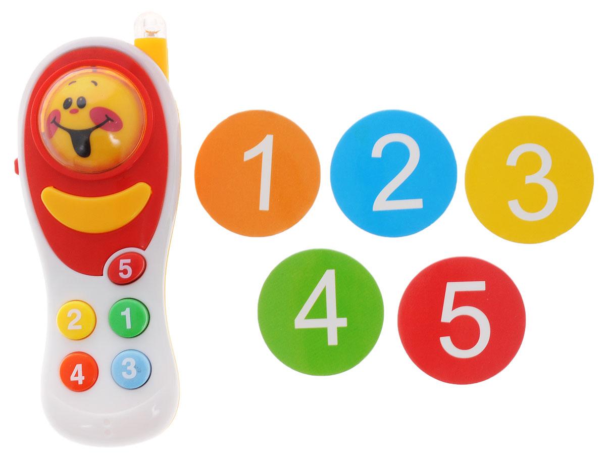 ABtoys Развивающая игрушка Интеллектуальный мобильный телефон цвет белыйPT-00227_белыйРазвивающая игрушка ABtoys Интеллектуальный мобильный телефон- отличная игрушка для вашего ребенка. Телефон выполнен из безопасных материалов и абсолютно не токсичен. Имеет звуковые и световые эффекты. Нажмите на кнопку смены смайлика, чтобы запустить шар. Когда он остановится, вы увидите случайный смайлик. При нажатии на каждую цветную кнопку, вы услышите различные мелодии и звуки. Малыш сможет изучить цифры и научится различать цвета. Необходимо купить 3 батарейки напряжением типа Lr44 (не входят в комплект).