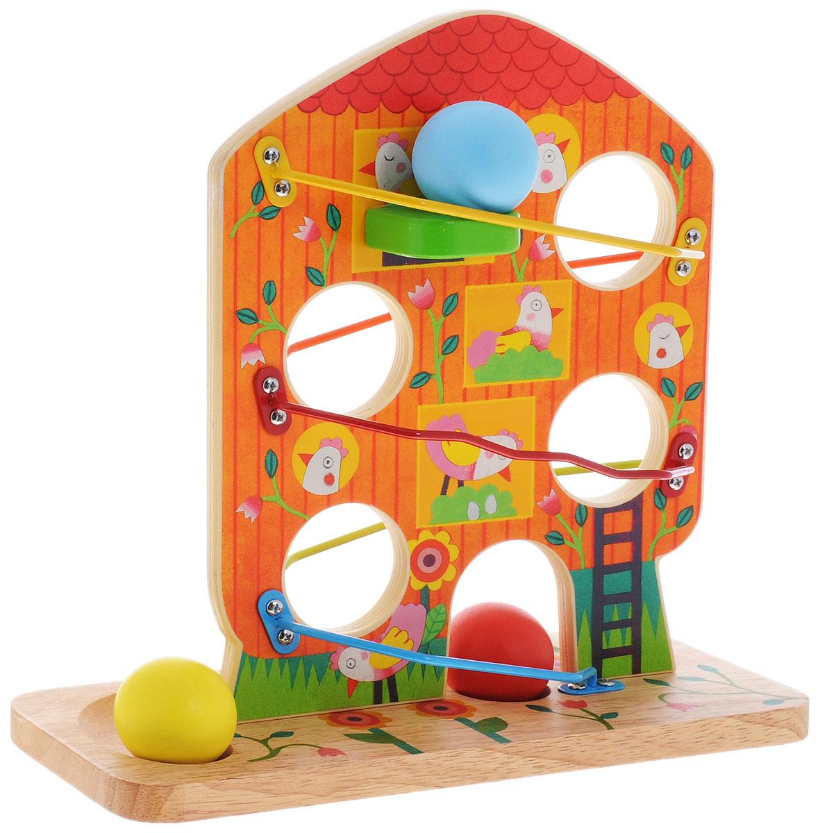 Djeco Развивающая игрушка Кугельбан Птичий дом06426Развивающая игрушка Djeco Кугельбан. Птичий дом поможет ребенку сформировать понимание о формах и объемах, а также станет прекрасным набором для развития логики и внимания. Игра состоит из деревянной основы в виде дерева с отверстиями. Вдоль кроны дерева имеются металлические направляющие, по которым будут двигаться шарики. Забавные курочки на дереве порадуют малыша и сделают игру интересной. В процессе игры у ребенка прекрасно развивается логика и сообразительность, формируется понимание форм и объемов. Все детали игрушки абсолютно безопасны для детей и изготовлены из высококачественных материалов.