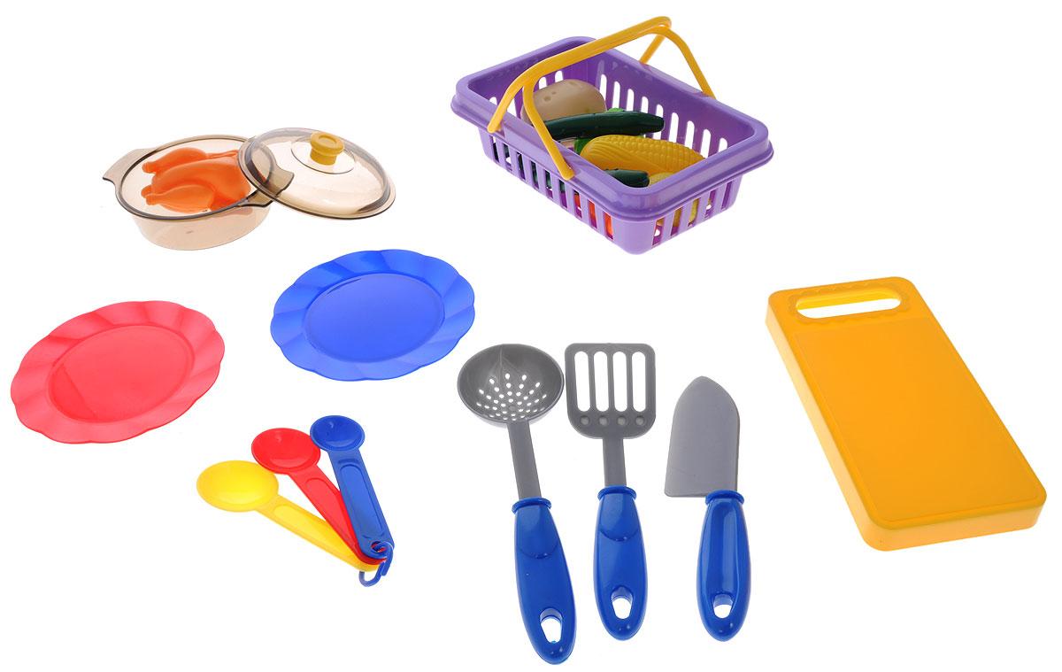 ABtoys Игрушечный кухонный набор с продуктами 19 предметовPT-00193Игровой кухонный набор с продуктами ABtoys Помогаю маме - очень интересная и полезная игрушка для вашей дочки. Набор состоит из разноцветной яркой посуды и овощей. Этот игровой комплект поможет девочке пройти важную стадию сюжетно-ролевых игр и почувствовать себя настоящей хозяйкой. Все изделия изготовлены из безопасной и высококачественной пластмассы.