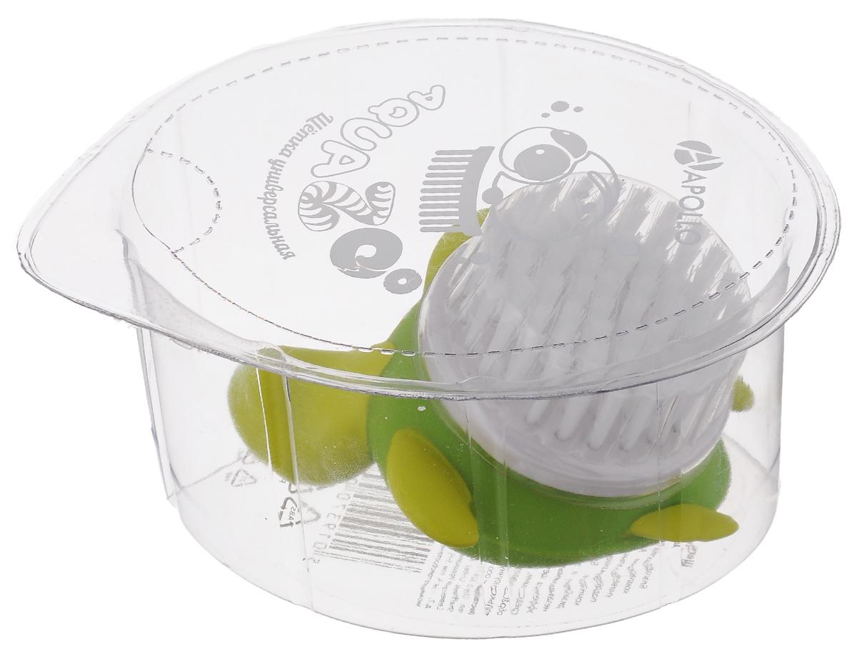 Щетка универсальная Apollo Aqua Zoo. ЧерепахаAQZ-08_черЩетка Apollo AquaZoo. Черепаха, изготовленная из пищевого пластика и нейлона, выполнена в виде черепахи. Она универсальна и прекрасно подойдет для поддержания чистоты, как на кухне, так и в ванной комнате. Благодаря оригинальному, дружелюбному дизайну и эргономичной ручке, такая щетка станет незаменимым инструментом в вашем доме. Для наилучшего эффекта щетку необходимо использовать вместе с чистящими средствами, рекомендованными для поверхностей, которые вы обрабатываете. Нельзя мыть в посудомоечной машине. Не использовать для мытья щетки абразивные вещества. Размер черепахи: 8,5 х 7,5 х 4 см. Диаметр рабочей поверхности: 5 см . Длина ворса: 1,5 см.