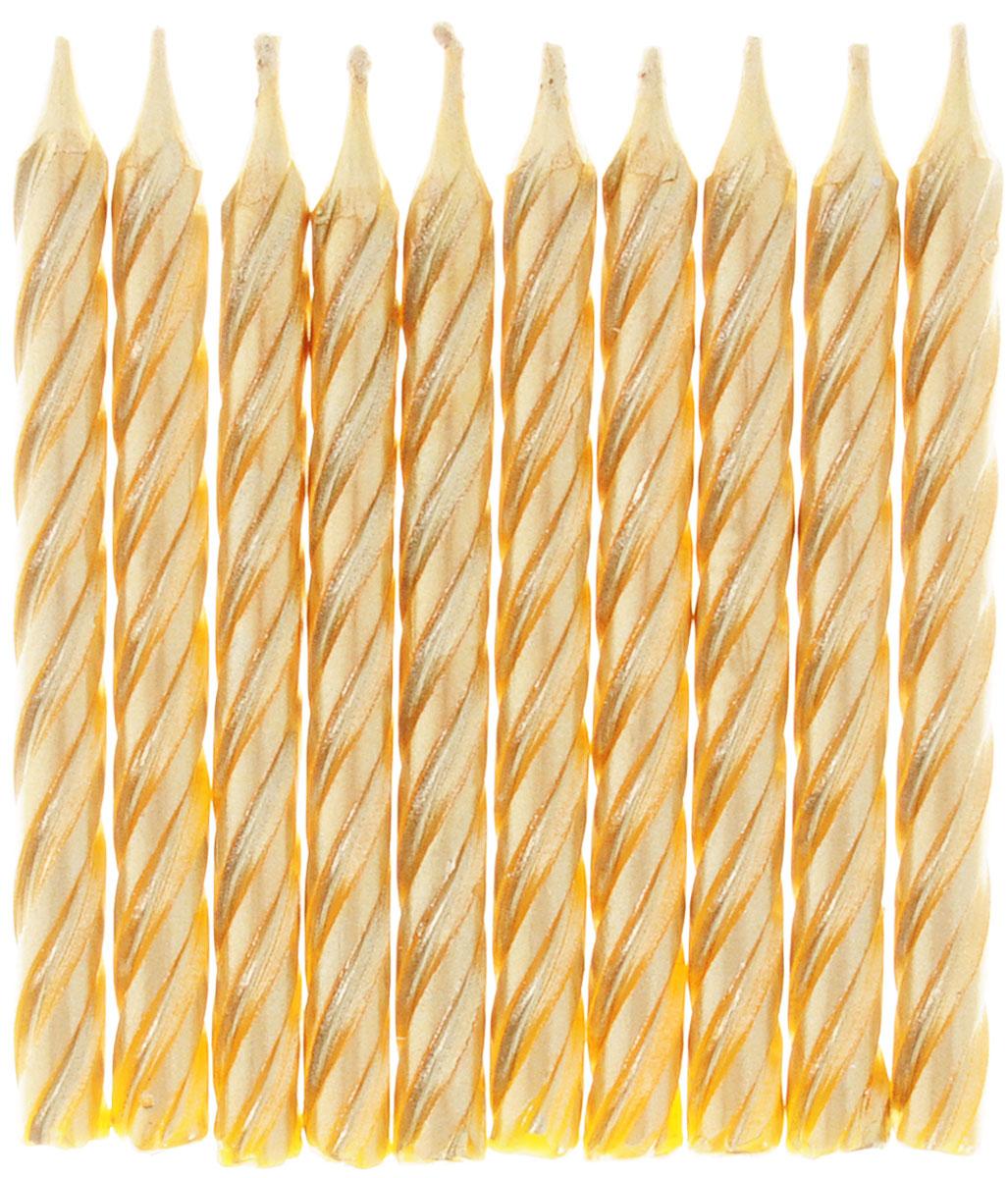 Action! Свечи для торта Золотые 10 штAPI0302Торт - главный атрибут праздника на любом торжестве, особенно, если это детский День рождения. Чтобы торт был необычным, достаточно украсить его оригинальными свечами от Action!. Вставив такие свечи в праздничный торт вы доставите яркие эмоции и радость имениннику. Свечи для торта золотистого цвета выполнены из парафина. Они станут отличным украшением любого стола. В наборе 10 свечей.