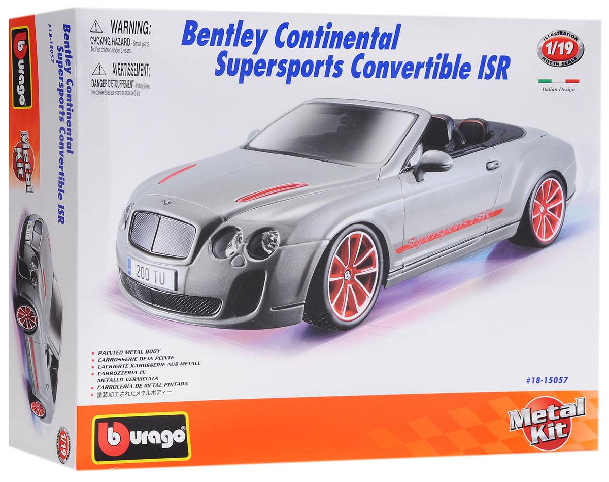Bburago Сборная модель автомобиля Bentley Continental Supersports Convertible ISR18-15057Сборная модель автомобиля Bburago Bentley Continental Supersports Convertible ISR привлечет к себе внимание не только детей, но и взрослых. Модель представлена в масштабе 1:18 и в точности воспроизводит все детали внешнего облика реального автомобиля. Корпус автомобиля выполнен из металла с использованием пластиковых элементов, колеса - из резины. Машина оборудована открывающимися дверцами, капотом и багажником, а также подвижными колесами. Во время игры с такой машинкой у ребенка развивается мелкая моторика рук, фантазия и воображение. В комплекте: элементы для сборки модели, наклейки и схематичная инструкция по сборке. Модель собирается без использования клея.