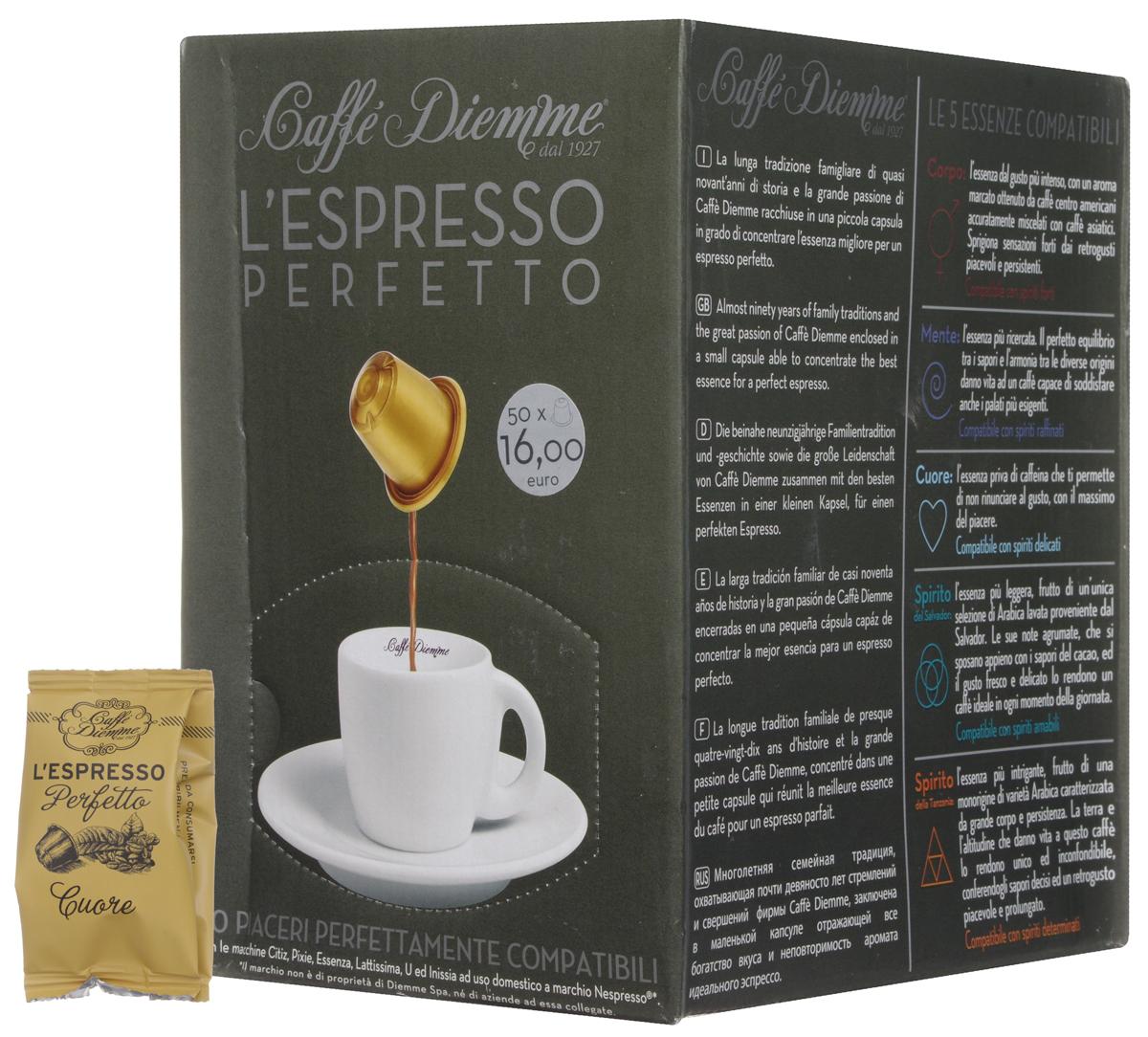 Diemme Caffe Cuore кофе в капсулах, 50 шт8003866001107Аромат Diemme Caffe Cuore, не содержащий кофеина, позволяет не отказываться от богатой палитры аромата натурального кофе, и приносимого им удовольствия. Этот аромат предназначен для деликатных особ.