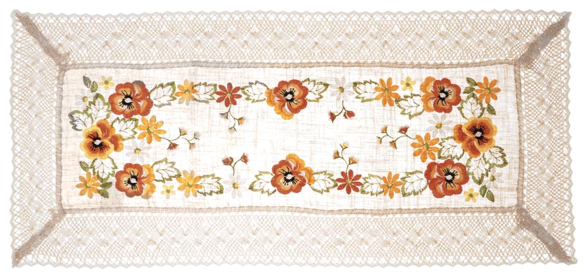Дорожка для декорирования стола Schaefer, прямоугольная, 40 х 90 см. 07438-20007438-200Прямоугольная дорожка Schaefer изготовлена из высококачественного полиэстера и оформлена по краю отделочной тесьмой. Фактура ткани выполнена под натуральный лен, вышивка ручная. Вы можете использовать дорожку для декорирования стола, комода или журнального столика. Благодаря такой дорожке вы защитите поверхность мебели от воды, пятен и механических воздействий, а также создадите атмосферу уюта и домашнего тепла в интерьере вашей квартиры. Изделия из искусственных волокон легко стирать: они не мнутся, не садятся и быстро сохнут, они более долговечны, чем изделия из натуральных волокон. Изысканный текстиль от немецкой компании Schaefer - это красота, стиль и уют в вашем доме. Дорожка органично впишется в интерьер любого помещения, а оригинальный дизайн удовлетворит даже самый изысканный вкус. Дарите себе и близким красоту каждый день!