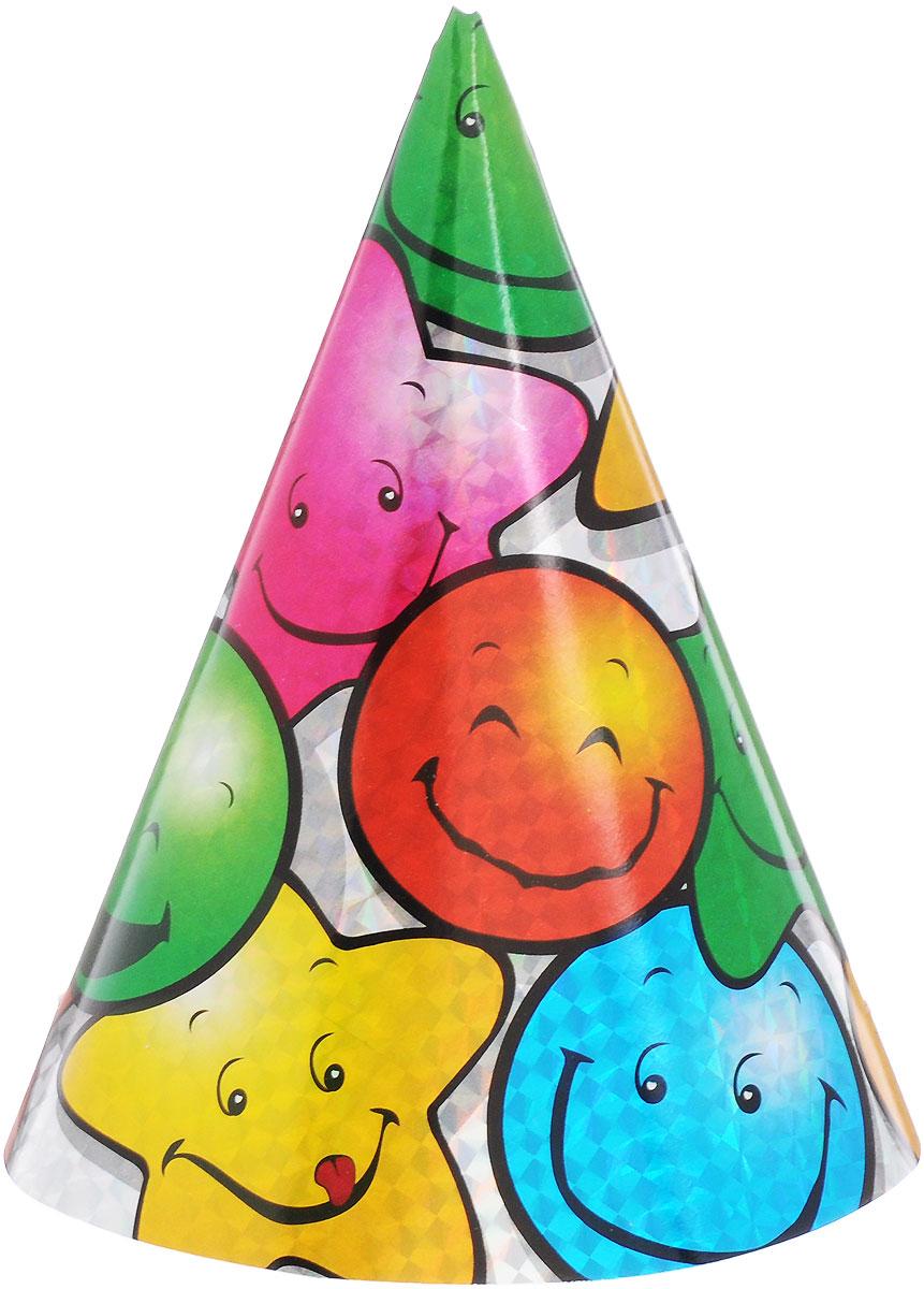 Action! Набор колпаков Смайлик 6 штAPI0124Забавные колпаки Action! Смайлик, выполненные из картона - неотъемлемые аксессуары любого праздника. Изделия декорированы изображениями веселых смайликов. Яркие колпаки Смайлик станут завершающим штрихом в создании праздничного образа. В наборе 6 колпаков.