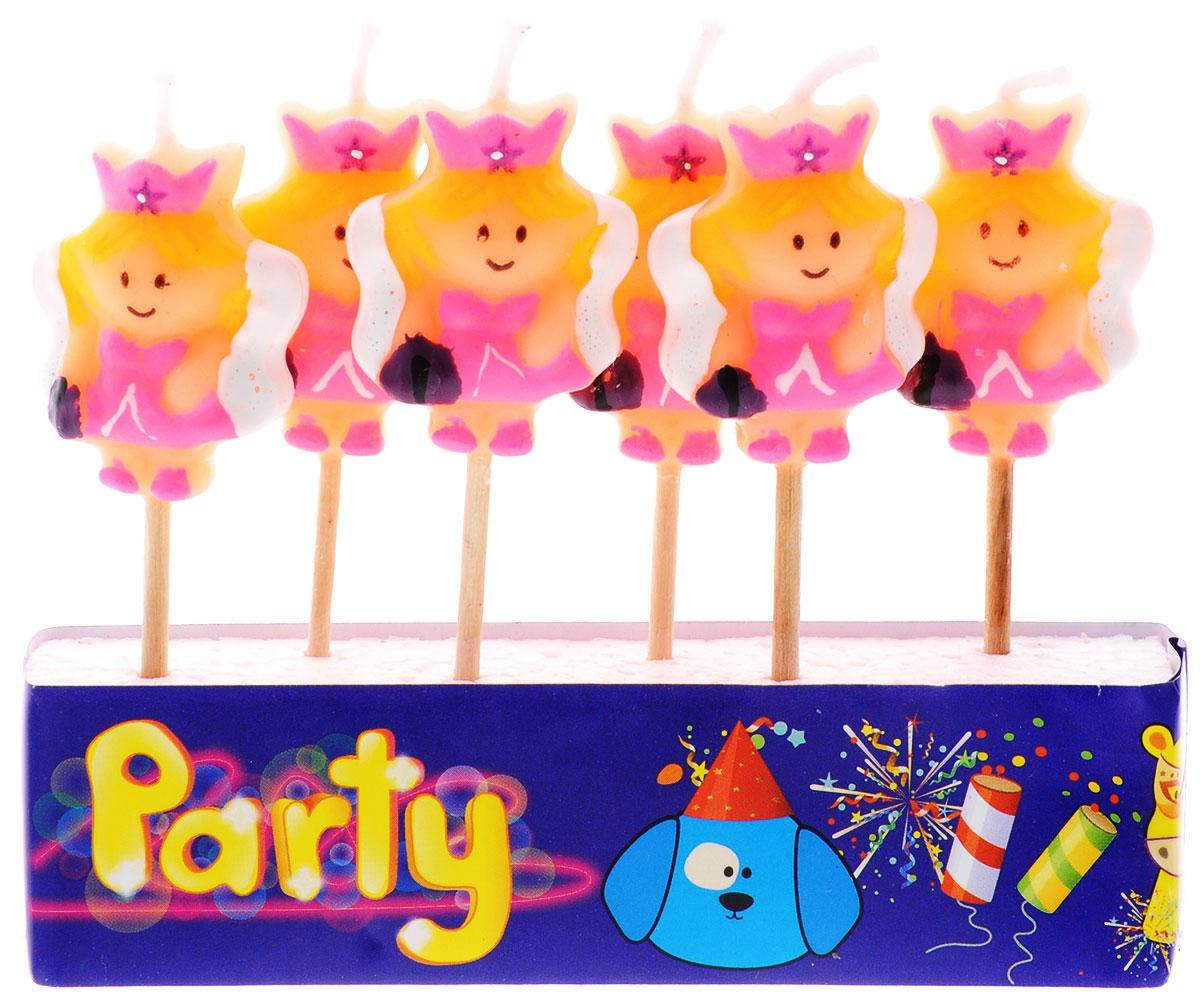 Action! Свечи для торта Принцесса 6 штAPI0312Яркие свечи для торта Action! Принцесса непременно порадуют любого именинника. Яркие и заметные - они обязательно украсят торжественную выпечку, помогая создать атмосферу праздника. Изготовлены из высококачественного парафина в виде веселых принцесс и имеют ножку- держатель. В наборе 6 свечей.