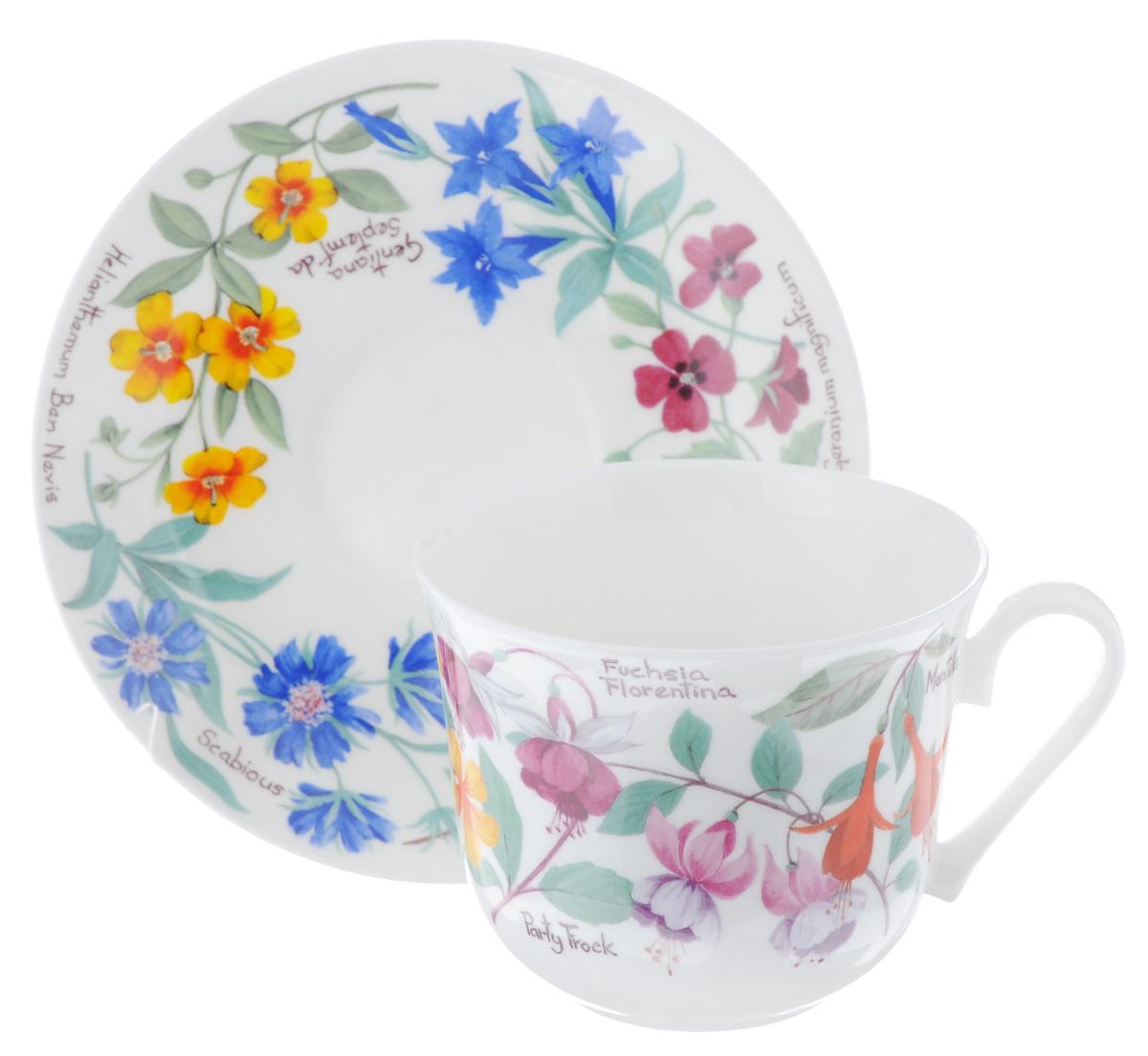 Чайная пара Roy Kirkham Цветочный сад, 2 предметаXGARFL1100Чайная пара Roy Kirkham Цветочный сад состоит из чашки и блюдца, изготовленных из тонкостенного костяного фарфора высшего качества, отличающегося необыкновенной прочностью и небольшим весом. Изделия оформлены цветочным рисунком. Яркий дизайн, несомненно, придется вам по вкусу. Чайная пара Roy Kirkham Цветочный сад украсит ваш кухонный стол, а также станет замечательным подарком к любому празднику. Объем чашки: 500 мл. Диаметр чашки по верхнему краю: 10,5 см. Высота чашки: 8,5 см. Диаметр блюдца: 17 см. Высота блюдца: 2,5 см.