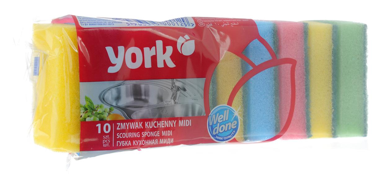 Губки для мытья посуды York Миди, 10 шт3001Губки для мытья посуды York Миди, выполненные из высококачественного сложного полимера, идеально чистят даже самые деликатные поверхности. Современный чистящий слой полностью удаляет сильные загрязнения. Антибактериальные свойства губки не позволяют накапливаться и размножаться бактериям. Губки York Миди сохраняют чистоту и свежесть даже после многократного применения. Размер губки: 8 х 5 х 2,5 см.