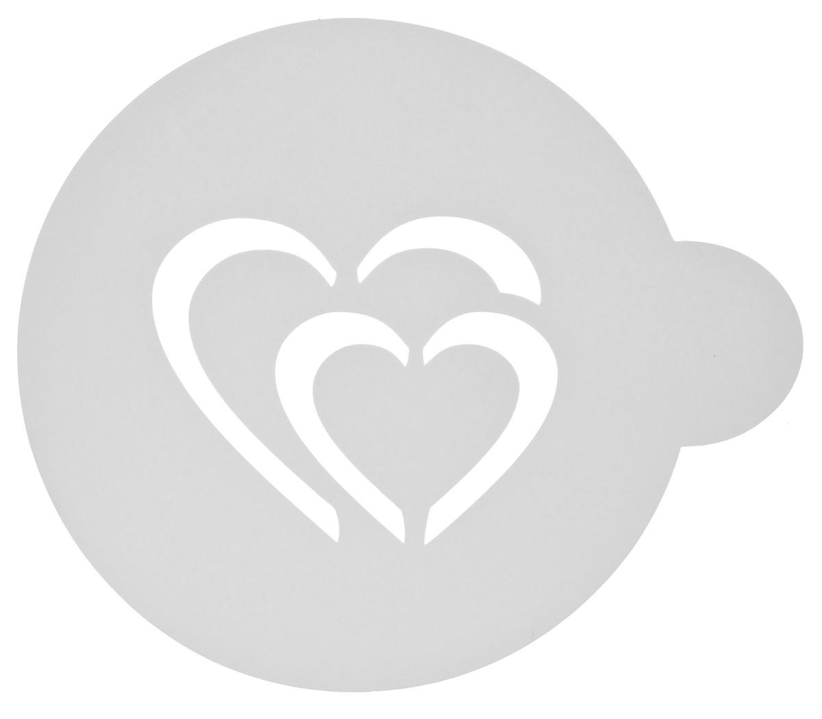 Трафарет на кофе и десерты Леденцовая фабрика Сердце двойное, цвет: белый, диаметр 10 смТ016Трафарет Леденцовая фабрика Сердце двойное представляет собой пластину с прорезями, через которые пищевая краска (сахарная пудра, какао, шоколад, сливки, корица, дробленый орех) наносится на поверхность кофе, молочных коктейлей, десертов. Изделие изготовлено из матового пищевого пластика 250 мкм и пригодно для контакта с пищевыми продуктами. Трафарет многоразовый. Побалуйте себя и ваших близких красиво оформленным кофе. Диаметр трафарета: 10 см.