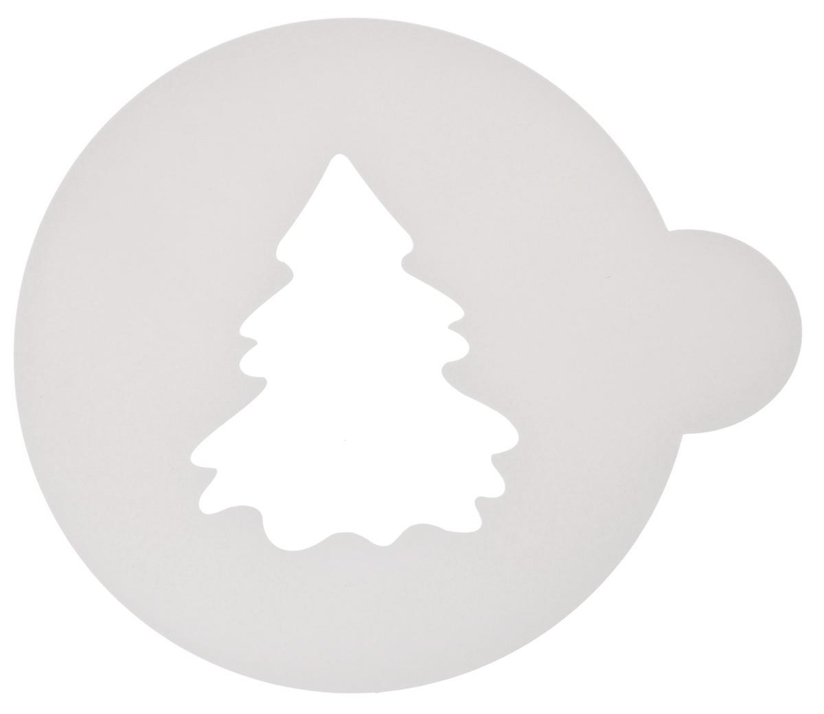 Трафарет на кофе и десерты Леденцовая фабрика Елочка, цвет: белый, диаметр 10 смТ06Трафарет Леденцовая фабрика Елочка представляет собой пластину с прорезями, через которые пищевая краска (сахарная пудра, какао, шоколад, сливки, корица, дробленый орех) наносится на поверхность кофе, молочных коктейлей, десертов. Изделие изготовлено из матового пищевого пластика 250 мкм и пригодно для контакта с пищевыми продуктами. Трафарет многоразовый. Побалуйте себя и ваших близких красиво оформленным кофе. Диаметр трафарета: 10 см.