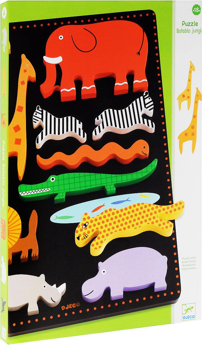 Djeco Развивающая игрушка Рамка-вкладыш Ботабло01027Развивающая игрушка Djeco Рамка-вкладыш Ботабло - великолепная развивающая игрушка для ребенка возраста от полутора лет. На деревянной основе находятся отверстия, которые малыш должен заполнить фигурками. Яркие формочки в виде слоника, жирафов, зебр, крокодила, льва, пантеры и бегемота порадуют малыша и позволят ему создать свою дикую саванну. Яркие контрастные изображения позволят ребенку выучить основные цвета. Игра с рамкой прекрасно развивает понимание форм, объемов, а также помогает стать ребенку более сообразительным. Рамка изготовлена из высококачественного дерева. Изображения покрыты безопасными красками.