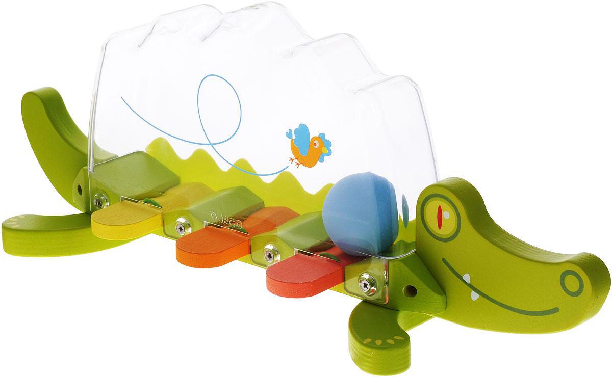 Djeco Музыкальный инструмент Крокодил06372Музыкальный инструмент Djeco Крокодил станет веселой музыкальной и развивающей игрушкой для каждого малыша. Игрушка представляет собой яркого крокодильчика с прозрачным пластиковым тельцем. Внутри прозрачной полости крокодильчика есть шарик, а в нижней части игрушки - яркие разноцветные клавиши. В комплекте с крокодильчиком есть деревянный молоточек. Ударяя по клавишам, малыш будет наблюдать за тем, как шарик внутри крокодильчика звонко подпрыгивает вверх. Все детали игрушки абсолютно безопасны для детей и изготовлены из высококачественных материалов.