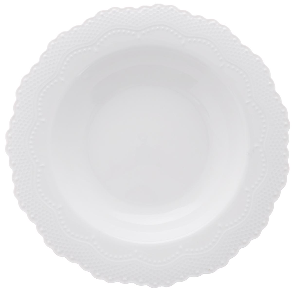 Тарелка суповая Walmer Vivien, цвет: белый, диаметр 22 смW07230022Суповая тарелка Walmer Vivien, изготовленная из высококачественного фарфора, имеет изысканный внешний вид. Яркий дизайн придется по вкусу и ценителям классики, и тем, кто предпочитает утонченность. Тарелка Walmer Vivien идеально подойдет для сервировки стола и станет отличным подарком к любому празднику. Можно мыть в посудомоечной машине. Диаметр (по верхнему краю): 22 см.