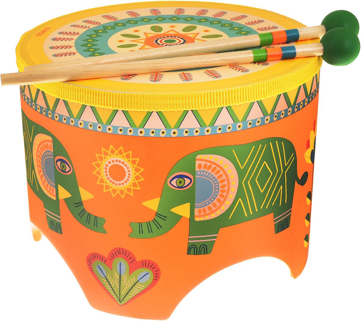 Djeco Барабан цвет оранжевый06003Музыкальный инструмент Djeco Барабан - великолепный музыкальный инструмент, с помощью которого ребенок будет развивать свои творческие и музыкальные способности. Барабан очень яркий и красочный. На его корпусе изображены милые слонята зеленого цвета, а также различные цветы и узоры. В комплект также входят 2 деревянные палочки, с помощью которых ребенок будет создавать различные звуки и мелодии. Игра на детских музыкальных инструментах прекрасно развивает музыкальный слух, творческие способности малыша, координацию движений и детскую моторику. Набор изготовлен из безопасных высококачественных материалов.