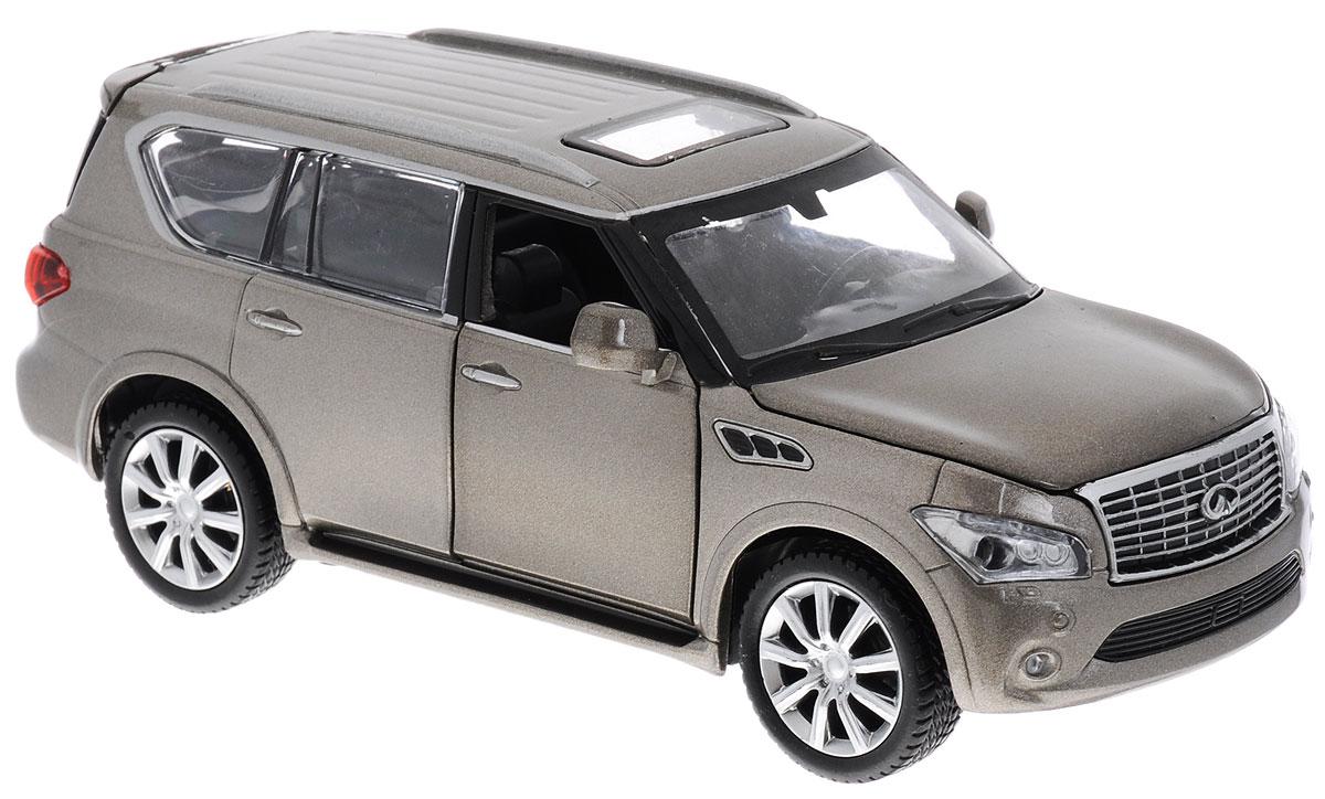 Maxi Toys Модель автомобиля Infiniti QXCP-68327-RМодель автомобиля Maxi Toys Infiniti QX - это точная копия оригинальной машины в масштабе 1:32. Выполненная из высококачественного металла и пластика, она обязательно понравится не только ребенку, но и взрослому. Модель автомобиля имеет световые и звуковые эффекты. Передние дверцы, капот и багажник машины открываются, фары светятся, салон детализирован. Игрушка оснащена инерционным ходом. Для того, чтобы автомобиль поехал вперед, необходимо его отвести назад, а затем резко отпустить. Прорезиненные колеса обеспечивают надежное сцепление с любой поверхностью пола. Машинка является отличным подарком для юного гонщика. Во время игры с такой машинкой у ребенка развивается мелкая моторика рук, фантазия и воображение. Для работы игрушки необходимы 3 батарейки типа AG13 (товар комплектуется демонстрационными).