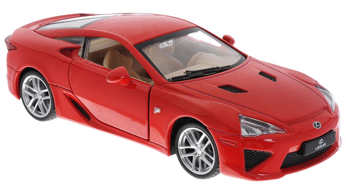 Maxi Toys Модель автомобиля Lexus LF-ACP-68414-RМодель автомобиля Maxi Toys Lexus LF-A - это точная копия оригинальной машины в масштабе 1:32. Выполненная из высококачественного металла и пластика, она обязательно понравится не только ребенку, но и взрослому. Модель автомобиля имеет световые и звуковые эффекты. Дверцы машины открываются, фары светятся, салон детализирован. Игрушка оснащена инерционным ходом. Для того, чтобы автомобиль поехал вперед, необходимо его отвести назад, а затем резко отпустить. Прорезиненные колеса обеспечивают надежное сцепление с любой поверхностью пола. Машинка является отличным подарком для юного гонщика. Во время игры с такой машинкой у ребенка развивается мелкая моторика рук, фантазия и воображение. Для работы игрушки необходимы 3 батарейки типа AG13 (товар комплектуется демонстрационными).