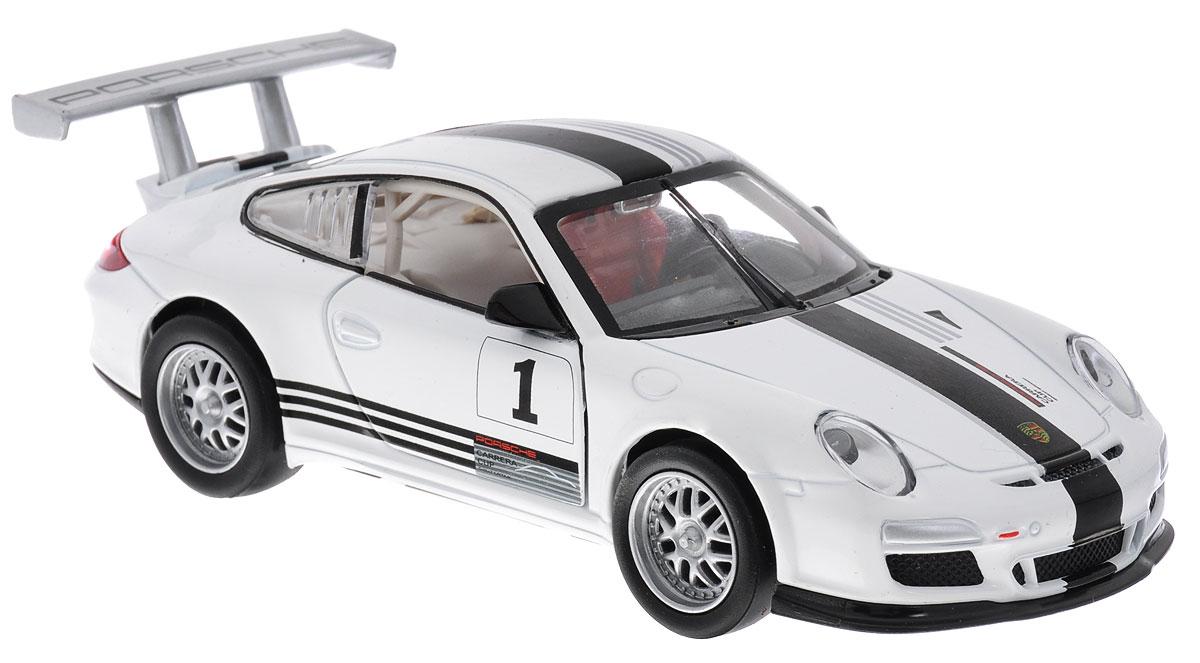 MSZ Модель автомобиля Porsche 911 GT3 CUPCP-68341-WМодель автомобиля MSZ Porsche 911 GT3 CUP - это точная копия оригинальной машины в масштабе 1:32. Выполненная из высококачественного металла и пластика, она обязательно понравится не только ребенку, но и взрослому. Модель автомобиля имеет световые и звуковые эффекты. Дверцы машины открываются, фары светятся, салон детализирован. Игрушка оснащена инерционным ходом. Для того, чтобы автомобиль поехал вперед, необходимо его отвести назад, а затем резко отпустить. Прорезиненные колеса обеспечивают надежное сцепление с любой поверхностью пола. Машинка является отличным подарком для юного гонщика. Во время игры с такой машинкой у ребенка развивается мелкая моторика рук, фантазия и воображение. Для работы игрушки необходимы 3 батарейки типа AG13 (товар комплектуется демонстрационными).