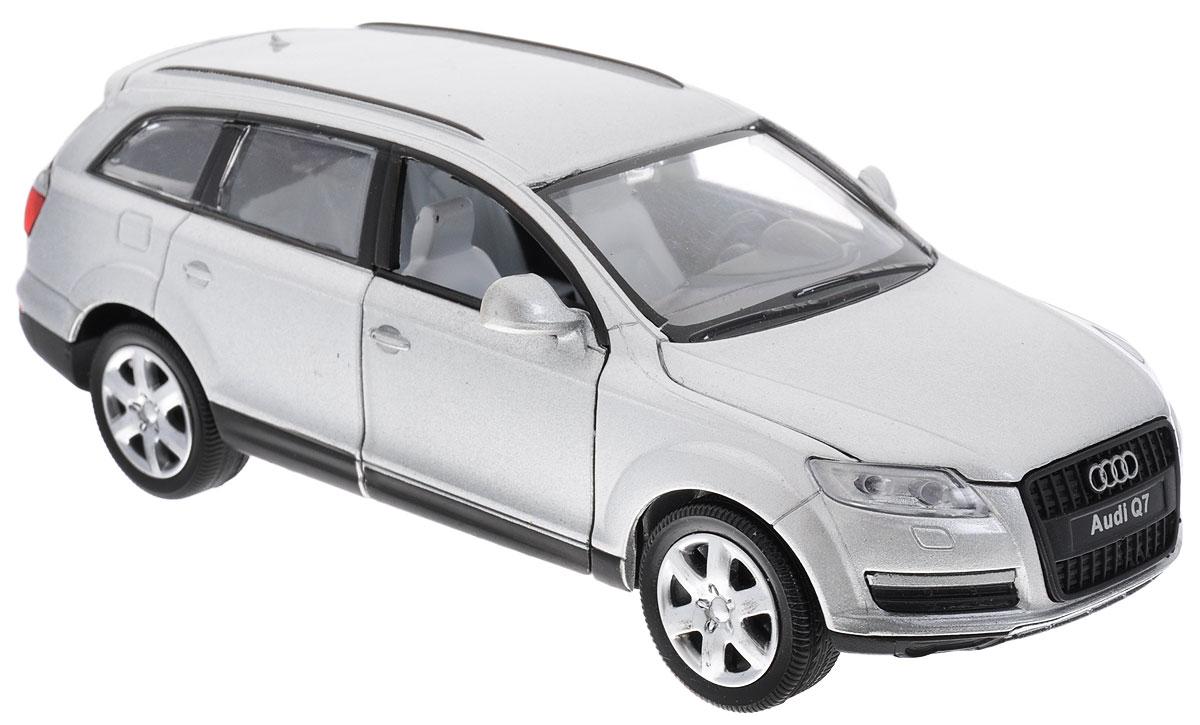 MSZ Модель автомобиля Audi Q7 цвет серый металликCP-68310-SМодель автомобиля MSZ Audi Q7 будет отличным подарком как ребенку, так и взрослому коллекционеру. Благодаря броской внешности, а также великолепной точности, с которой создатели этой модели масштабом 1:32 передали внешний вид настоящего автомобиля, модель станет подлинным украшением любой коллекции авто. Модель оснащена металлическим корпусом и подвижными колесами. Передние двери машинки, капот и багажник открываются. Модель дополнена световыми и звуковыми эффектами. Игрушка оснащена инерционным ходом. Для того чтобы автомобиль поехал вперед, необходимо его отвести назад, а затем резко отпустить. Прорезиненные колеса обеспечивают надежное сцепление с любой поверхностью пола. Во время игры с такой машинкой, у ребенка развивается мелкая моторика рук, фантазия и воображение. Рекомендуется докупить 3 батарейки типа AG13 (товар комплектуется демонстрационными).