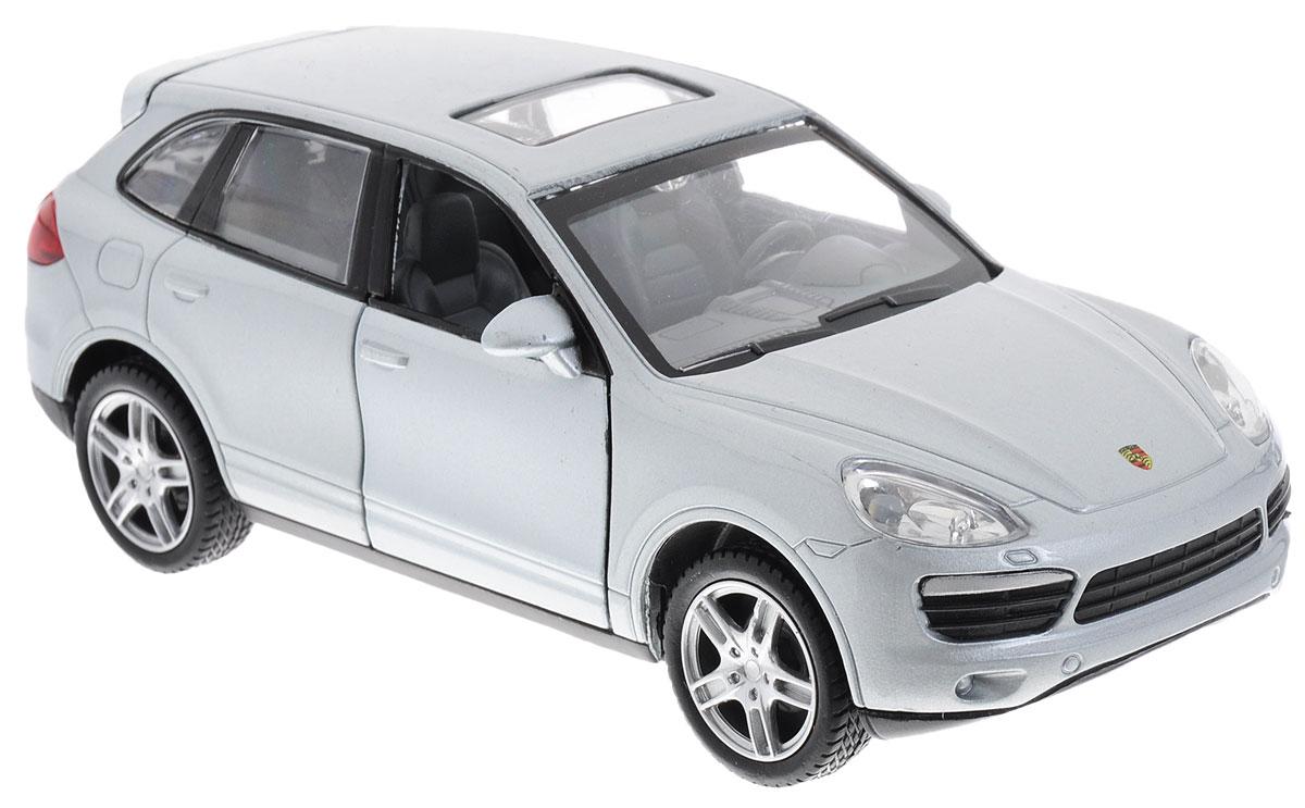 Maxi Toys Модель автомобиля Porsche Cayenne SCP-68324-SМодель автомобиля Maxi Toys Porsche Cayenne S - это точная копия оригинальной машины в масштабе 1:32. Выполненная из высококачественного металла и пластика, она обязательно понравится не только ребенку, но и взрослому. Модель автомобиля имеет световые и звуковые эффекты. Передние дверцы и багажник машины открываются, фары светятся, салон детализирован. Игрушка оснащена инерционным ходом. Для того, чтобы автомобиль поехал вперед, необходимо его отвести назад, а затем резко отпустить. Прорезиненные колеса обеспечивают надежное сцепление с любой поверхностью пола. Машинка является отличным подарком для юного гонщика. Во время игры с такой машинкой у ребенка развивается мелкая моторика рук, фантазия и воображение. Для работы игрушки необходимы 3 батарейки типа AG13 (товар комплектуется демонстрационными).