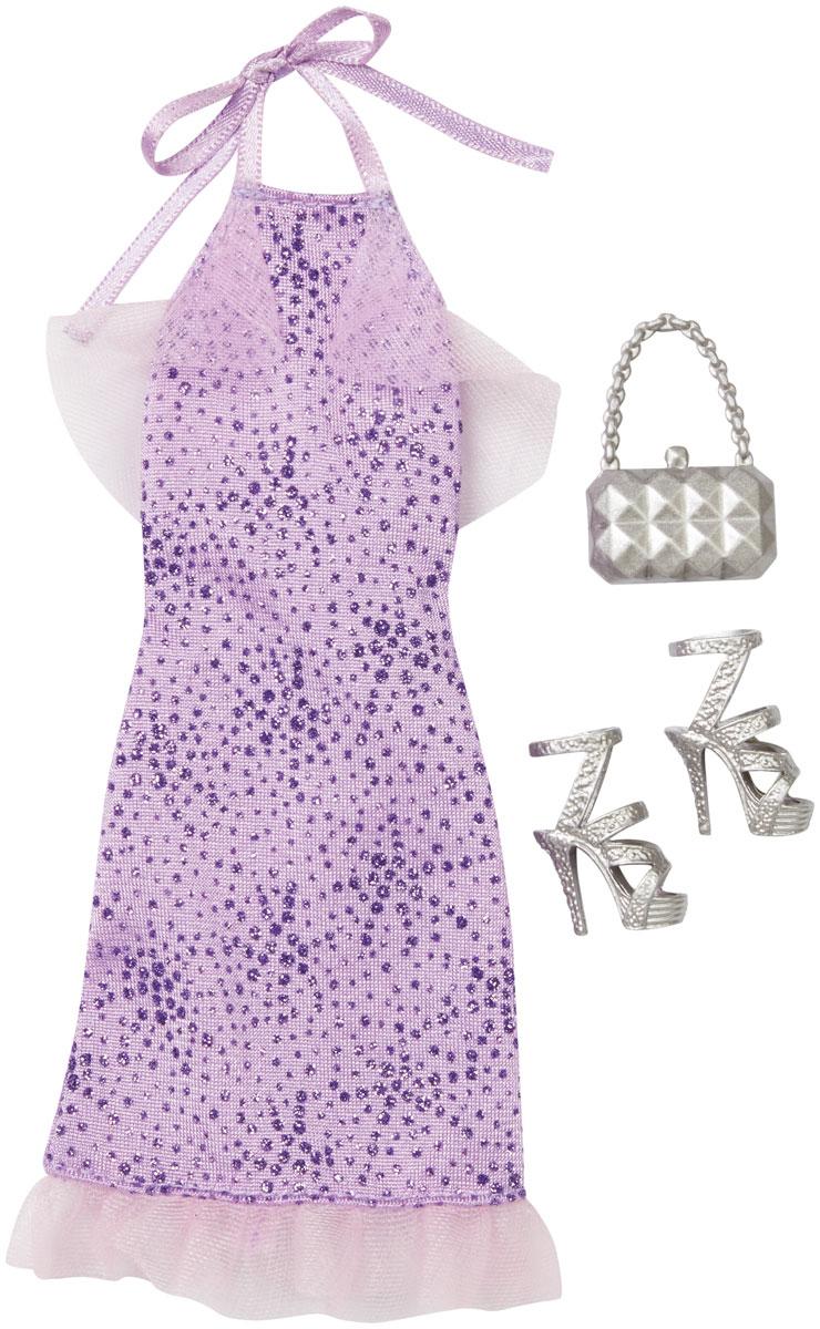 Barbie Одежда для кукол Платье цвет сиреневыйCFX92_DNV24Куклы тоже любят менять наряды! Это прекрасное платье обязательно придется к лицу красавице Барби. Оно выполнено из текстильного материала сиреневого цвета с блестками. Верх и подол платья декорированы сетчатыми оборками. Платье застегивается сзади на липучку. В комплекте с платьем имеются оригинальные светло-серые босоножки на высоких каблуках и стильная маленькая сумочка. В процессе игры любая девочка с удовольствием будет наряжать куклу в новую одежду. Если собрать всю коллекцию одежды для куклы Барби, можно будет подобрать наряды для самых разных сюжетов! Одежда подходит для большинства кукол Барби.