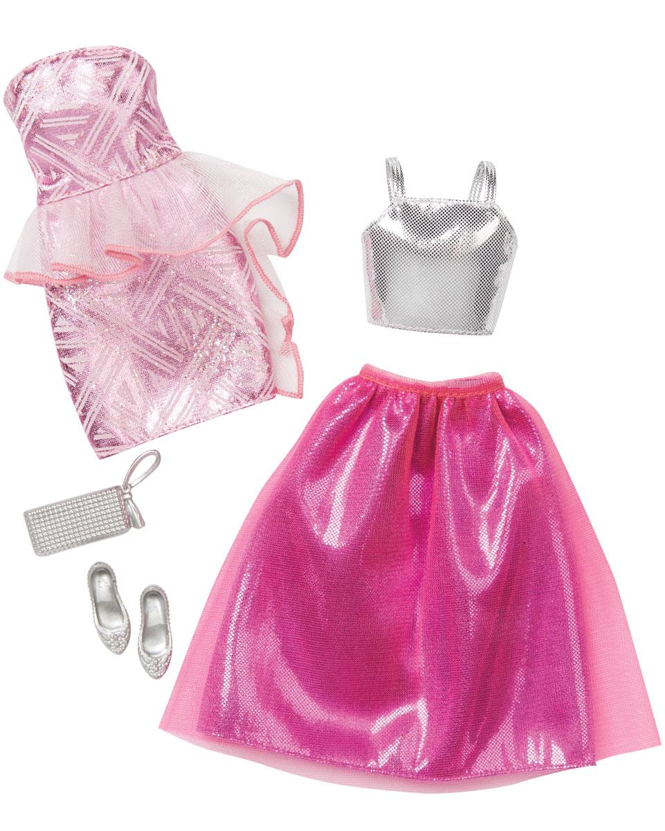 Barbie Набор одежды для кукол CFY06_DNV36CFY06_DNV36Каждый день новый очаровательный наряд - это возможно с набором модной одежды для кукол Барби. Два модных наряда в одной упаковке - это двойное удовольствие! Короткое розовое платье с прозрачной баской - лучший наряд для выхода в свет. Второй комплект состоит из блестящего праздничного топа и ярко-розовой юбки с двойным подолом. Набор включает в себя стильные светло-серые туфли без каблуков и модного клатча. Комбинируйте эти комплекты с другими нарядами, чтобы расширить гардероб своих модниц. В процессе игры любая девочка с удовольствием будет наряжать куклу в новую одежду. Если собрать всю коллекцию одежды для куклы Барби, то можно будет подобрать наряды для самых разных сюжетов! Одежда подходит для большинства кукол Барби. Куклы продаются отдельно.