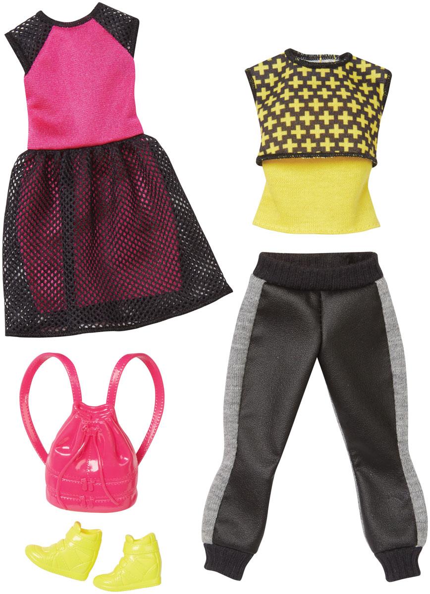 Barbie Набор одежды для кукол CFY06_DPX70CFY06_DPX70Каждый день новый очаровательный наряд - это возможно с набором модной одежды для кукол Барби. Два модных наряда в одной упаковке - это двойное удовольствие! Розовое платье с черной юбкой в сеточку обязательно придется по душе красавице Барби. Платье застегивается сзади на липучку. Второй комплект состоит из спортивных брюк серо- черного цвета и яркой черно-желтой майки. Набор включает в себя высокие спортивные ботинки желтого цвета и розовый рюкзак, который куколка сможет носить за спиной. Комбинируйте эти комплекты с другими нарядами, чтобы расширить гардероб своих модниц. В процессе игры любая девочка с удовольствием будет наряжать куклу в новую одежду. Если собрать всю коллекцию одежды для куклы Барби, то можно будет подобрать наряды для самых разных сюжетов! Одежда подходит для большинства кукол Барби. Куклы продаются отдельно.