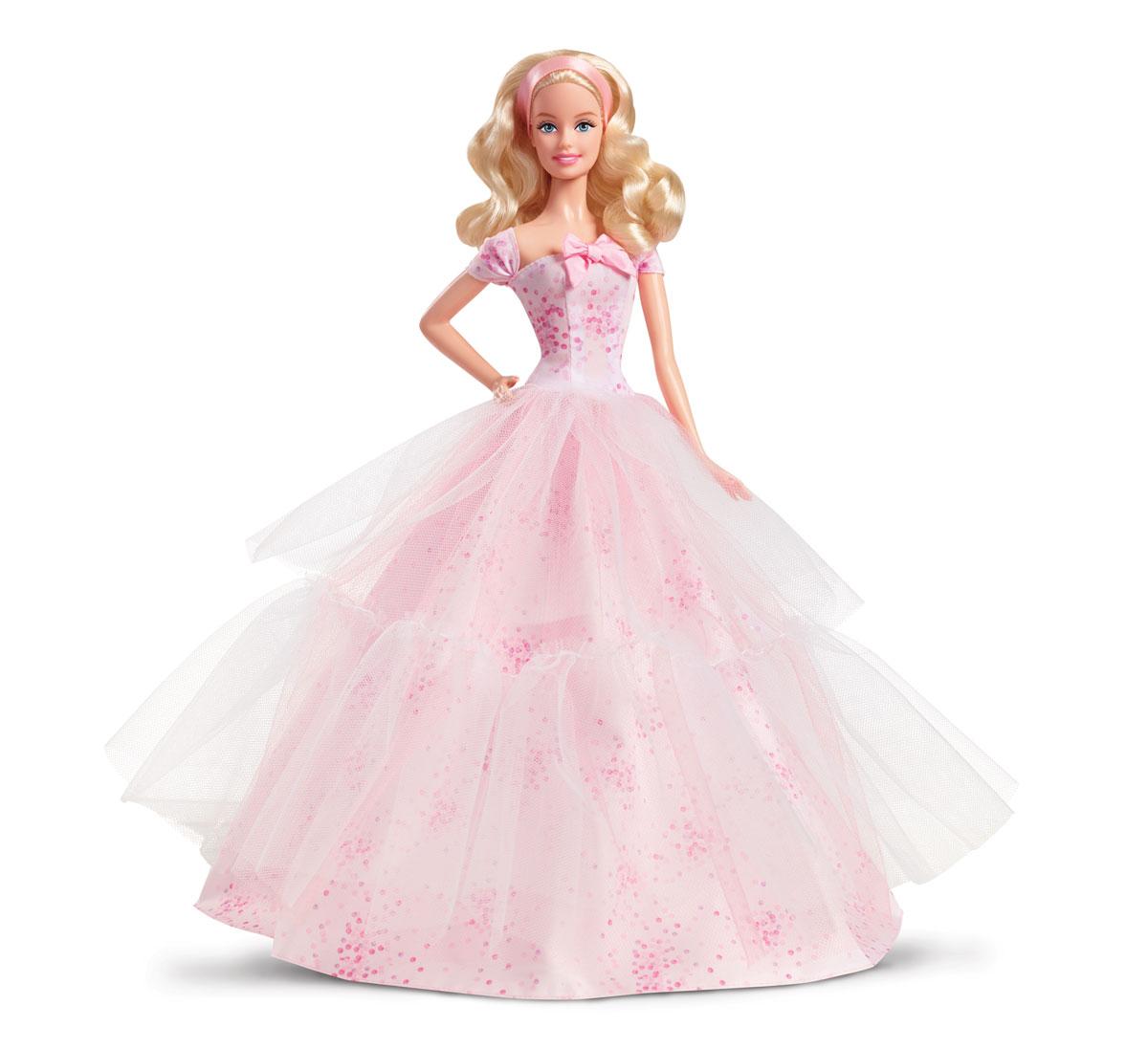 Barbie Кукла День рожденияDGW29Наконец-то! Этот особый день - единственный в году - наступил! Задувай свечи и загадывай желание, чтобы этот год был радостным и чудесным. С днем рождения! Великолепная коллекционная кукла Barbie День Рождения порадует вас качеством исполнения и доставит вам много удовольствия от часов, посвященных игре с ней. Кукла готова сразить всех наповал своей ослепительной красотой! Кукла с длинными вьющимися белокурыми волосами одета в великолепное приталенное платье нежно-розового цвета, дополненное красивым бантом на лифе, на ножках - изящные туфельки на высоких каблуках розового цвета. Яркий образ куколки дополняет атласная розовая лента в волосах Порадуйте свою малышку и себя таким великолепным подарком! Эта кукла приведет в восторг любого коллекционера и займет достойное место в каждой коллекции. В комплект входит куколка, подставка типа и сертификат подлинности.